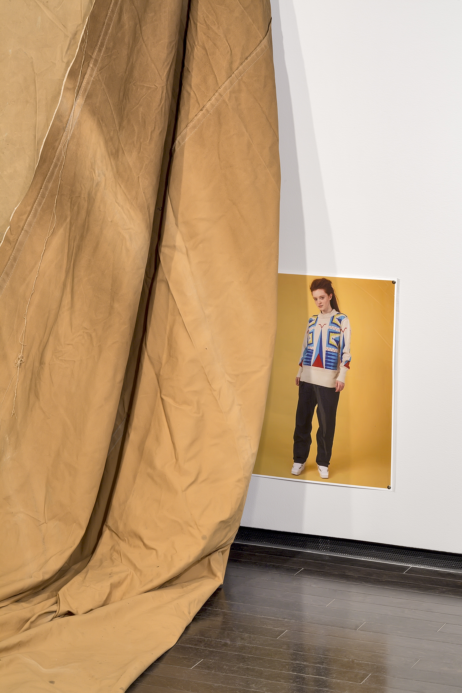Duane Linklater, a gift from Doreen (detail), 2016, teepee canvas, nails, dimensions variable. Installation view, A Parallel Excavation, Art Gallery of Alberta, Edmonton, Canada, 2016 by