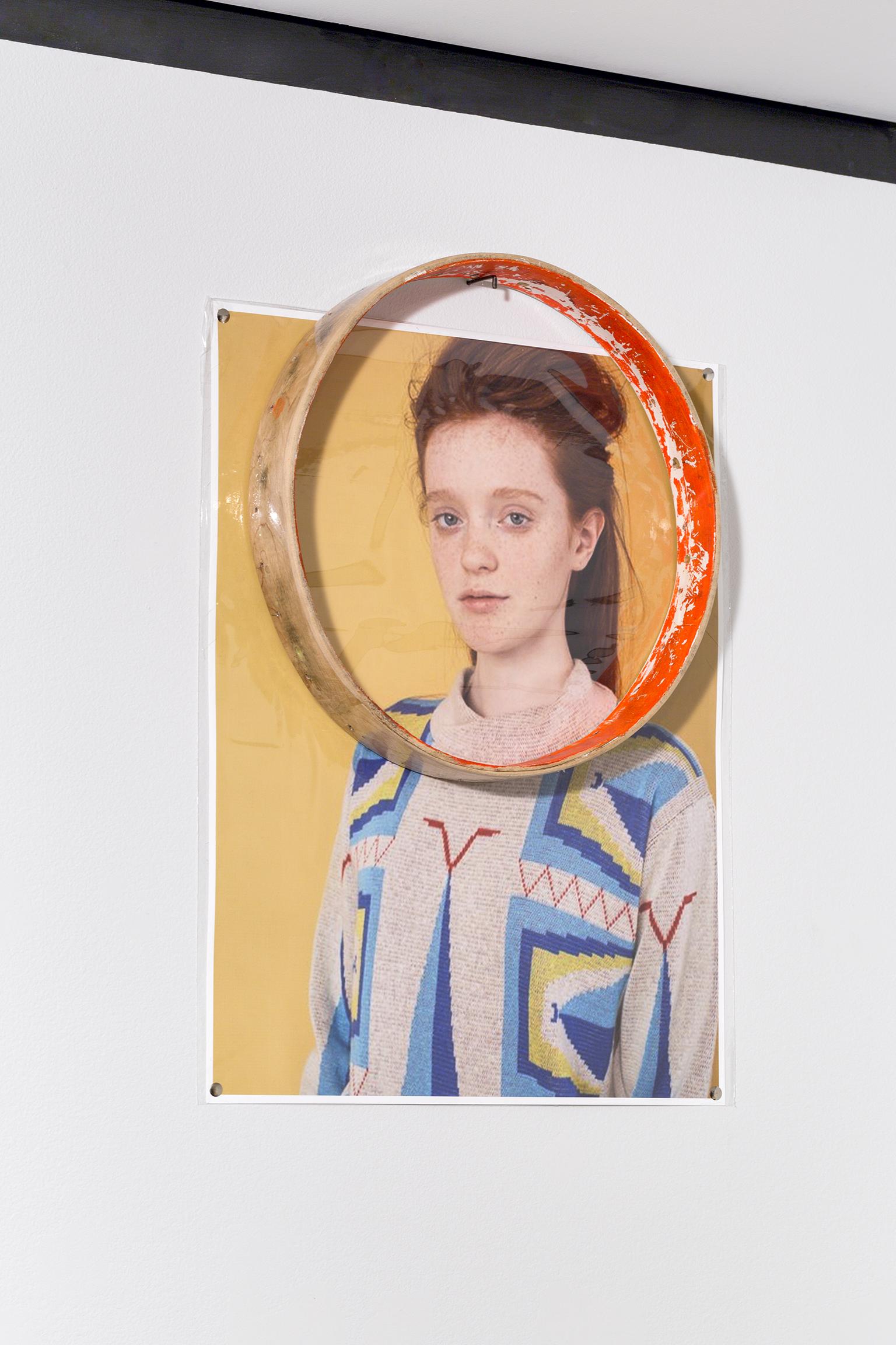 Duane Linklater, A Sort of Naiveté 2, 2016, 4 digital prints on archival paper, push pins, drum rim, each 23 x 17 in. (58 x 43 cm) by