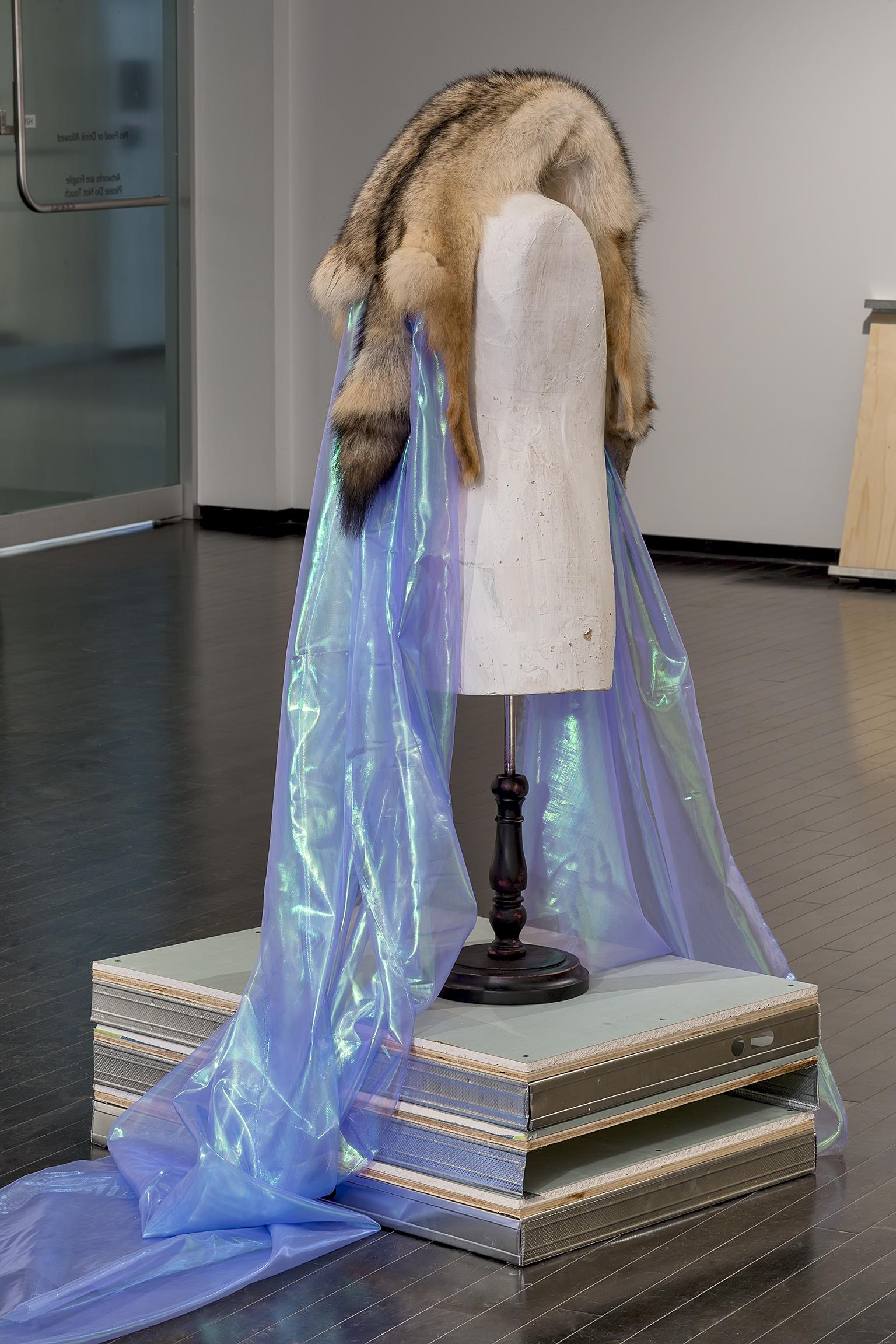 Duane Linklater, Beast of Burden, 2016, coyote fur, dress form, gypsum, steel, wood, dimensions variable by
