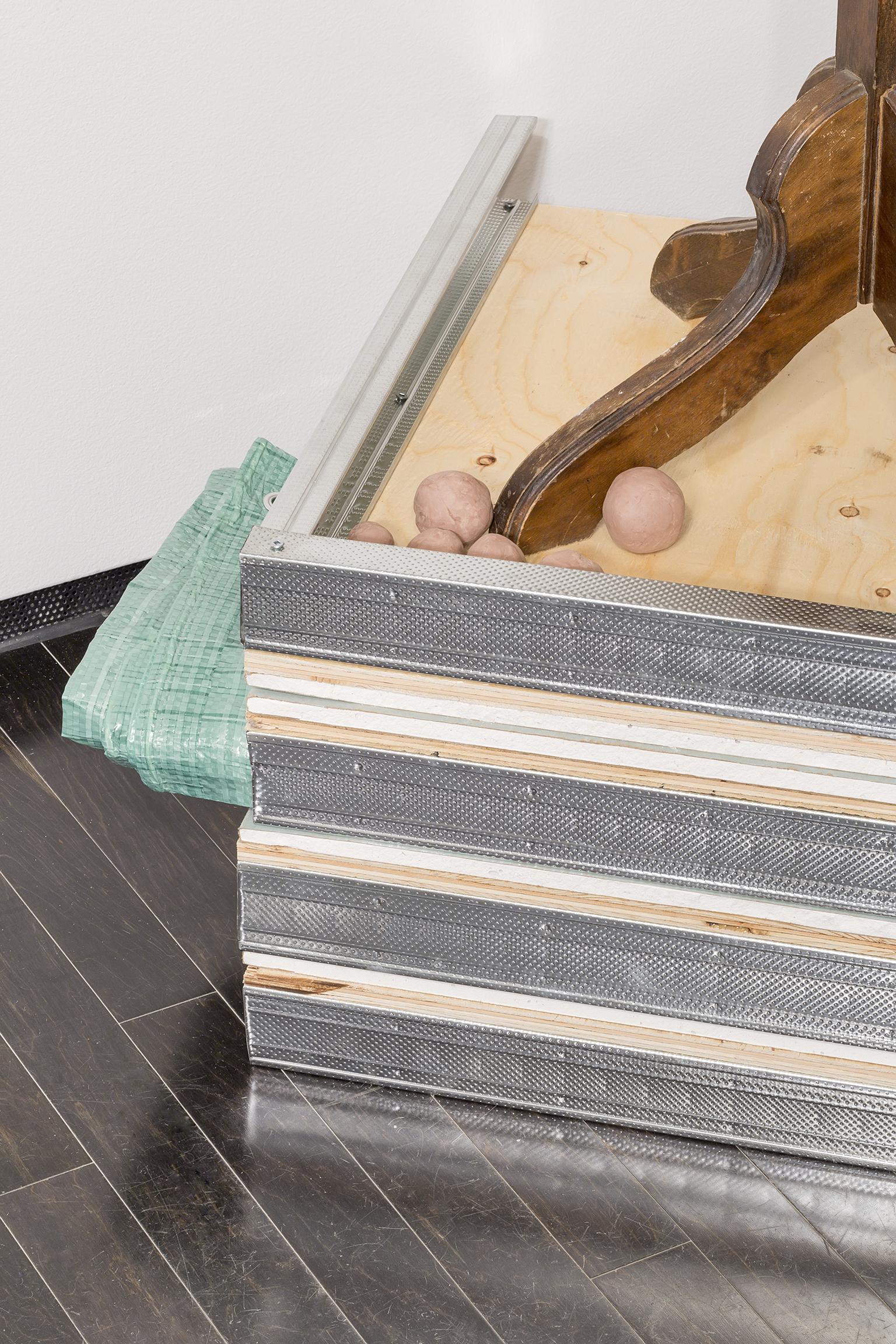 Duane Linklater, Flock (detail), 2016, wool tapestry, coathanger, steel vice, tarpaulin, gypsum, wood, steel, hair, clay, dimensions variable by