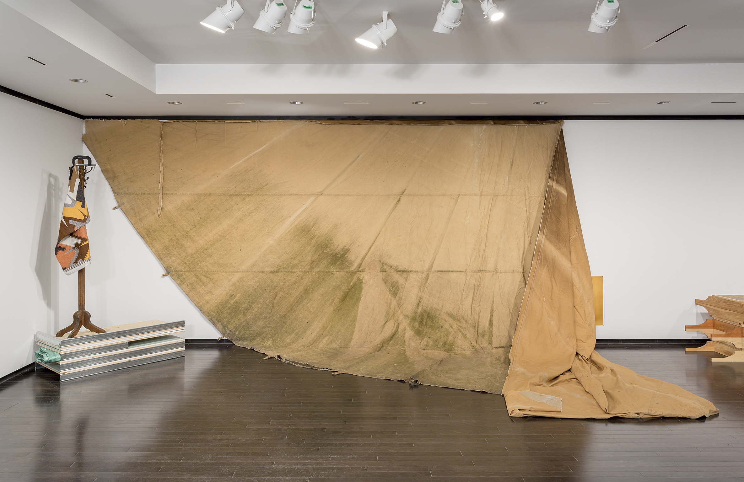 Duane Linklater, a gift from Doreen, 2016, teepee canvas, nails, dimensions variable. Installation view, A Parallel Excavation, Art Gallery of Alberta, Edmonton, Canada, 2016 by