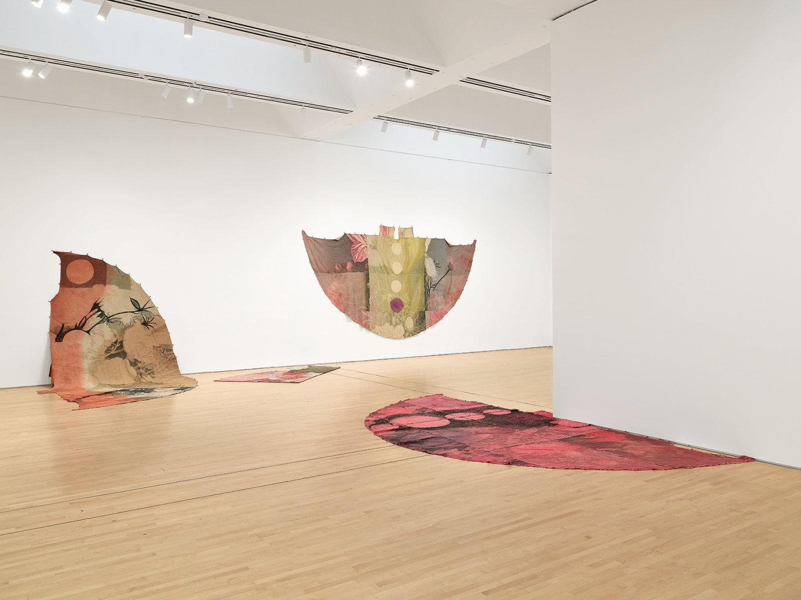 Duane Linklater, can the circle be unbroken 1–5, 2019, digital print on linen, dye, charcoal, mixed media, installation dimensions variable. Installation view, SOFT POWER, SF MOMA, San Francisco, USA, 2019