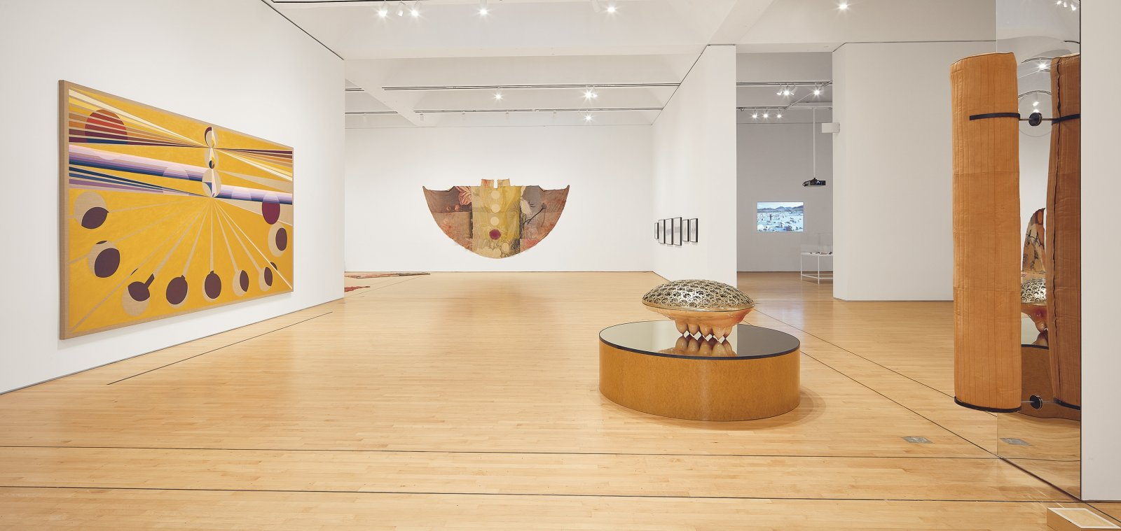 Duane Linklater, can the circle be unbroken 1–5, 2019, digital print on linen, dye, charcoal, mixed media, installation dimensions variable. Installation view, SOFT POWER, SF MOMA, San Francisco, USA, 2019 by Duane Linklater