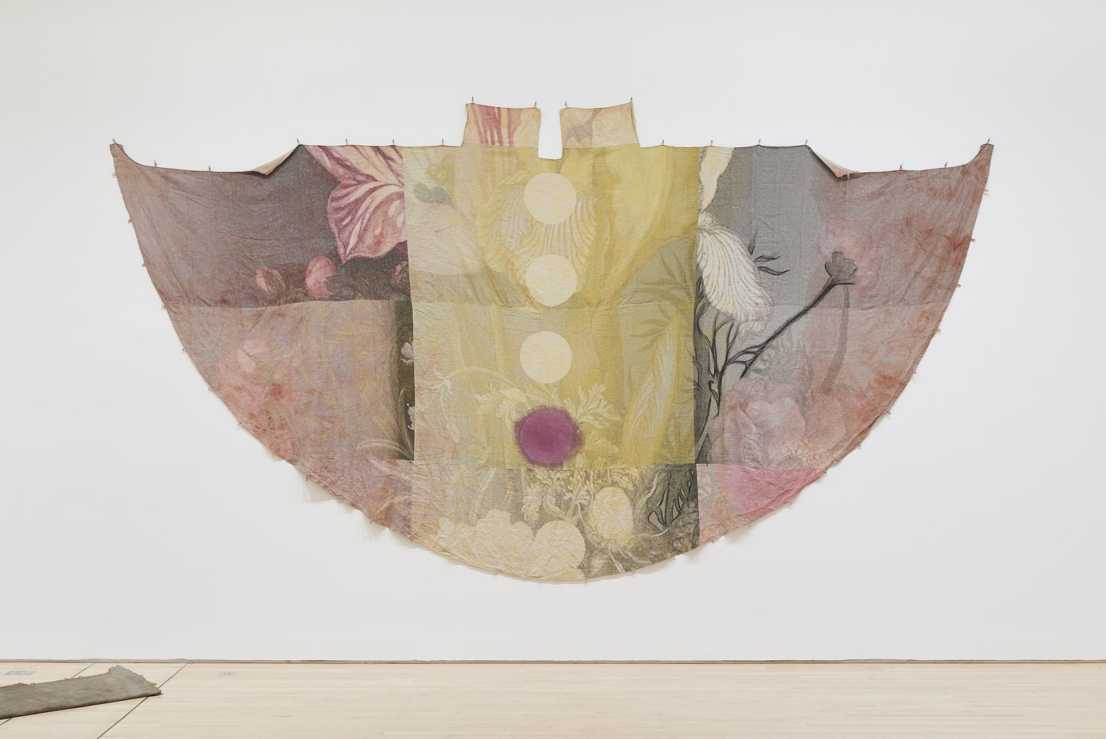 Duane Linklater, can the circle be unbroken 2, 2019, digital print on linen, iron red dye, cypress yellow ochre, blueberry extract, charcoal, 120 x 240 in. (305 x 610 cm). Installation view, SOFT POWER, SF MOMA, San Francisco, USA, 2019 by Duane Linklater