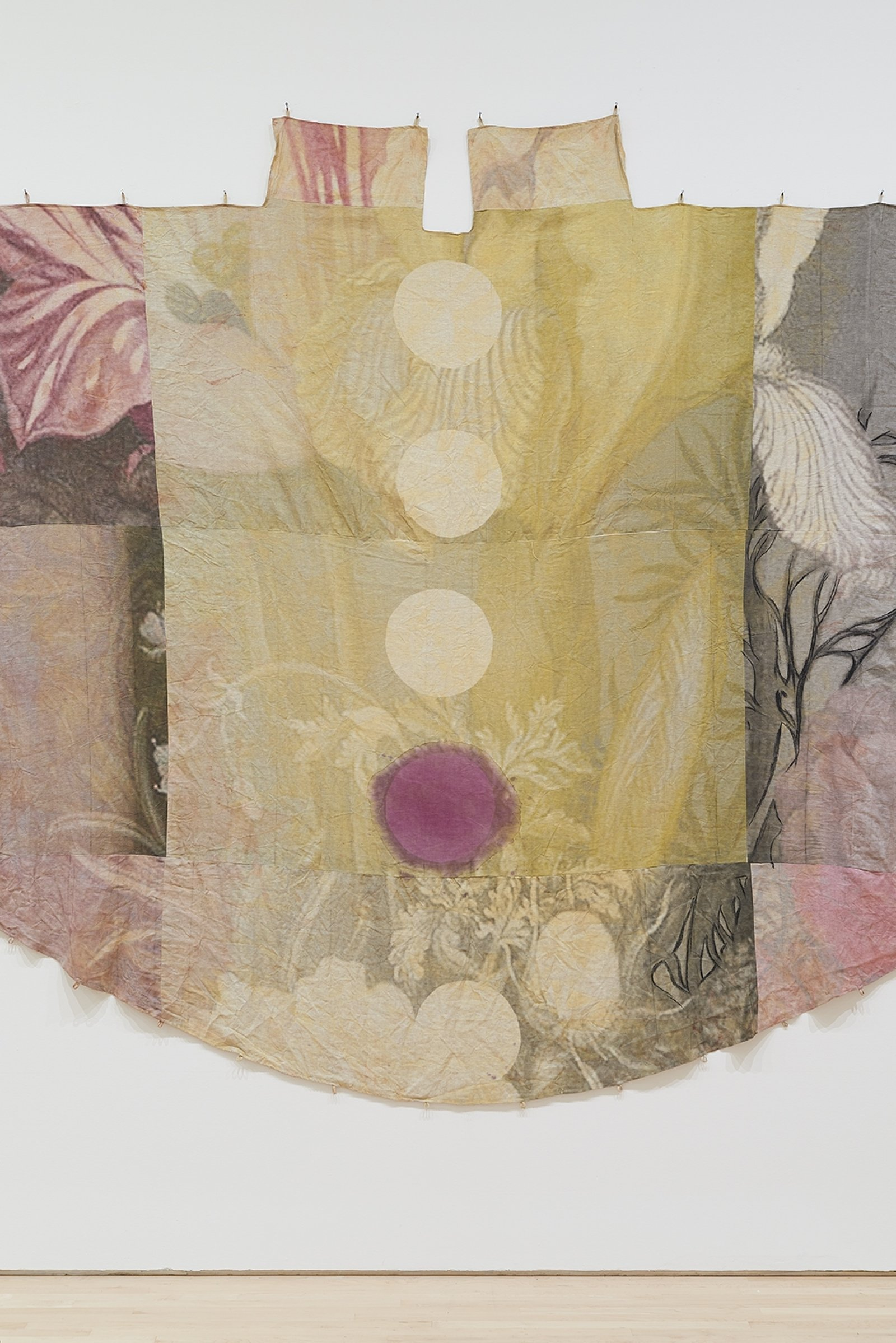 Duane Linklater, can the circle be unbroken 2 (detail), 2019, digital print on linen, iron red dye, cypress yellow ochre, blueberry extract, charcoal, 120 x 240 in. (305 x 610 cm). Installation view, SOFT POWER, SF MOMA, San Francisco, USA, 2019 by Duane Linklater
