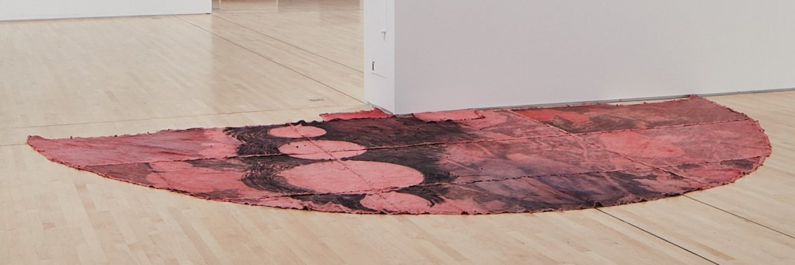 Duane Linklater, can the circle be unbroken 4, 2019, digital print on linen, cup and saucer red dye, indigo dye, charcoal, 120 x 240 in. (305 x 610 cm). Installation view, SOFT POWER, SF MOMA, San Francisco, USA, 2019