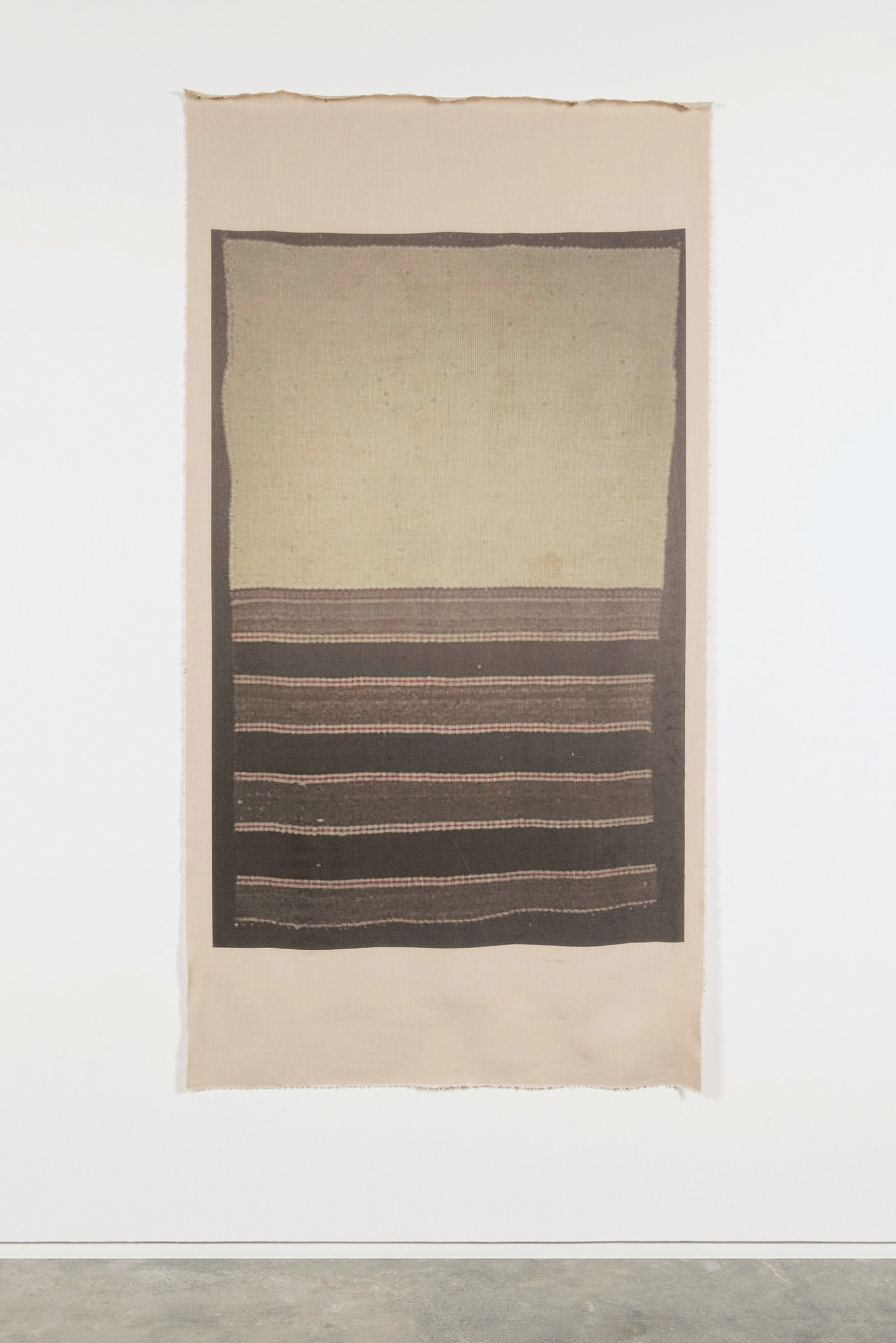 Duane Linklater, UMFA 1974.079.091.069, 2015, inkjet print on linen, nails, from Navajo Saddle Blanket, Utah Museum of Fine Arts Collection, 85 x 44 in. (216 x 112 cm)