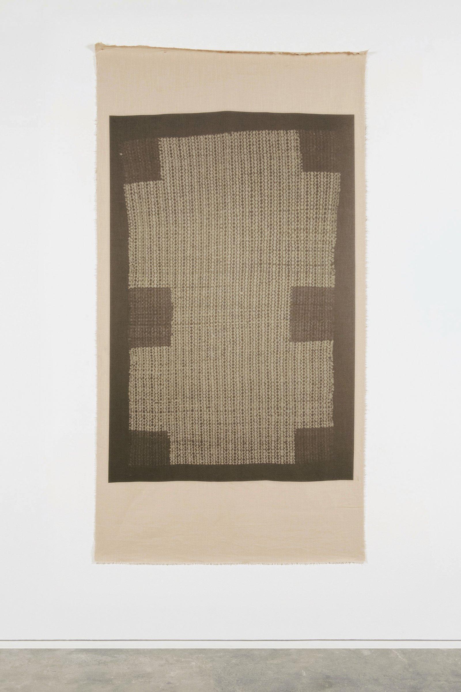 Duane Linklater,UMFA 1974.079.091.073, 2015, inkjet print on linen, nails, from Navajo Saddle Blanket, Utah Museum of Fine Arts Collection, 85 x 44 in. (216 x 112 cm)