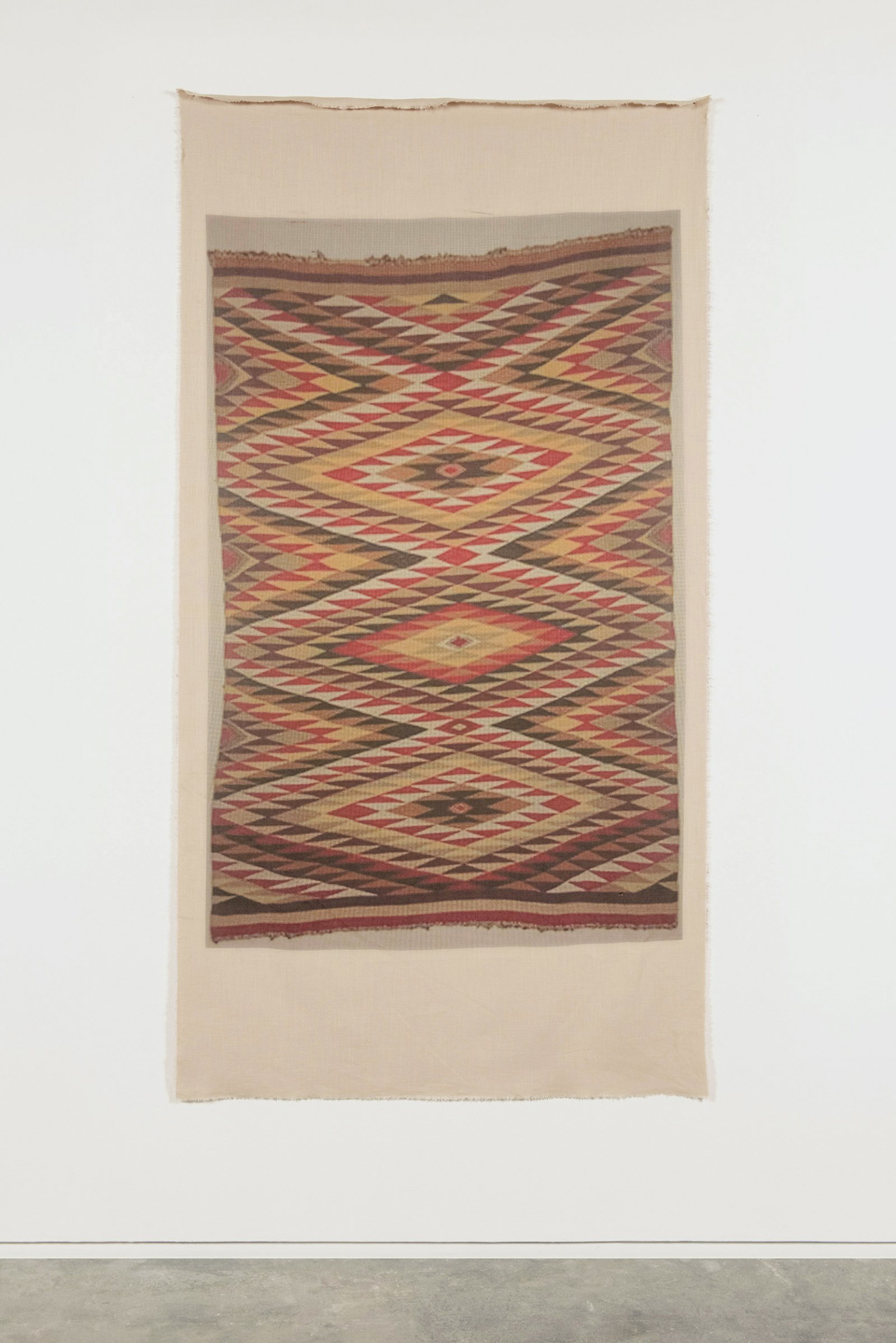 Duane Linklater, UMFA 1975.078.020.013, 2015, inkjet print on linen, nails, from Navajo Rug, Utah Museum of Fine Arts Collection, 85 x 44 in. (216 x 112 cm)