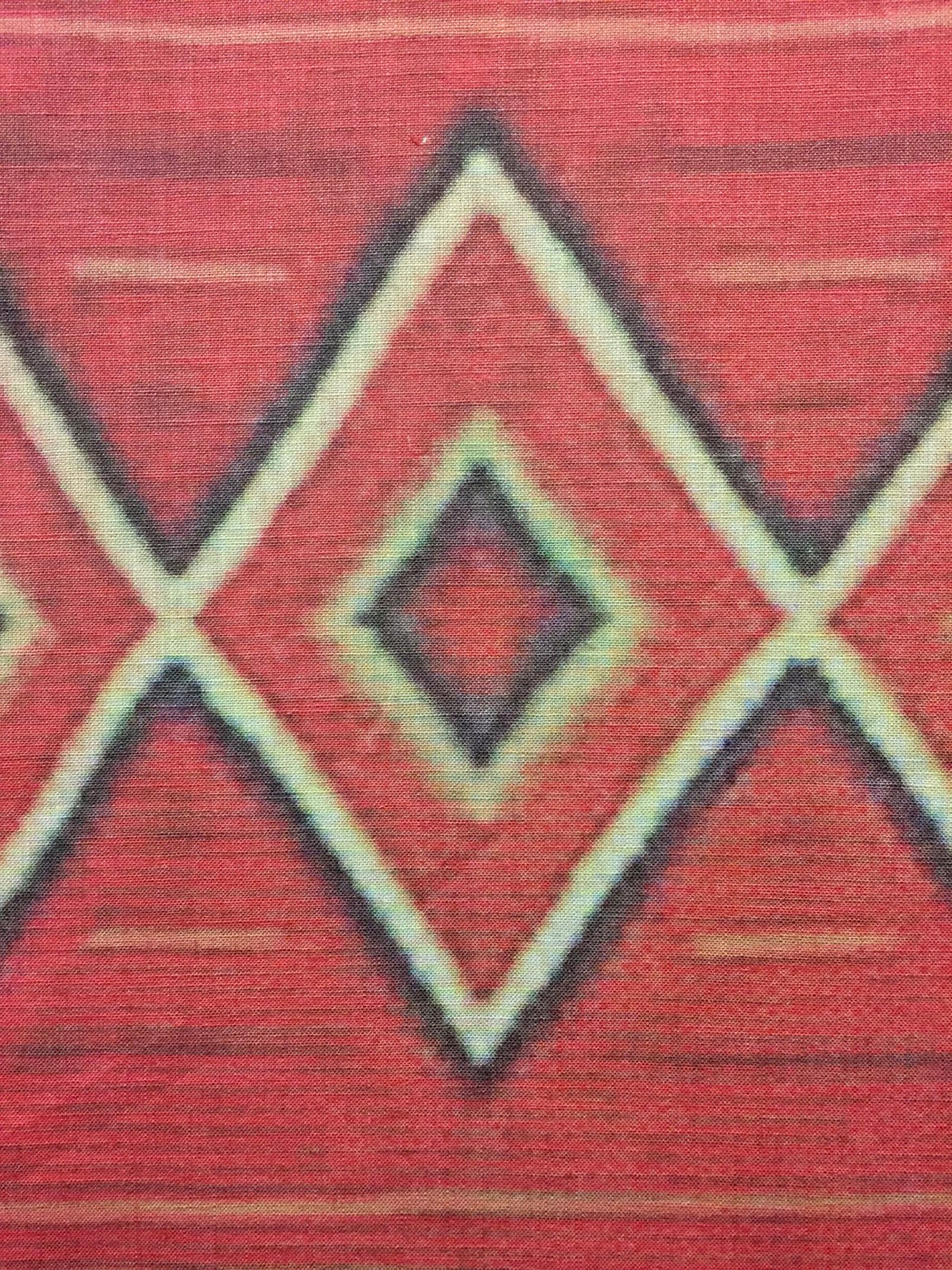 Duane Linklater, UMFA1978.169 (detail), 2015, inkjet print on linen, nails, from Navajo Serape, Utah Museum of Fine Arts Collection, 85 x 44 in. (216 x 112 cm)