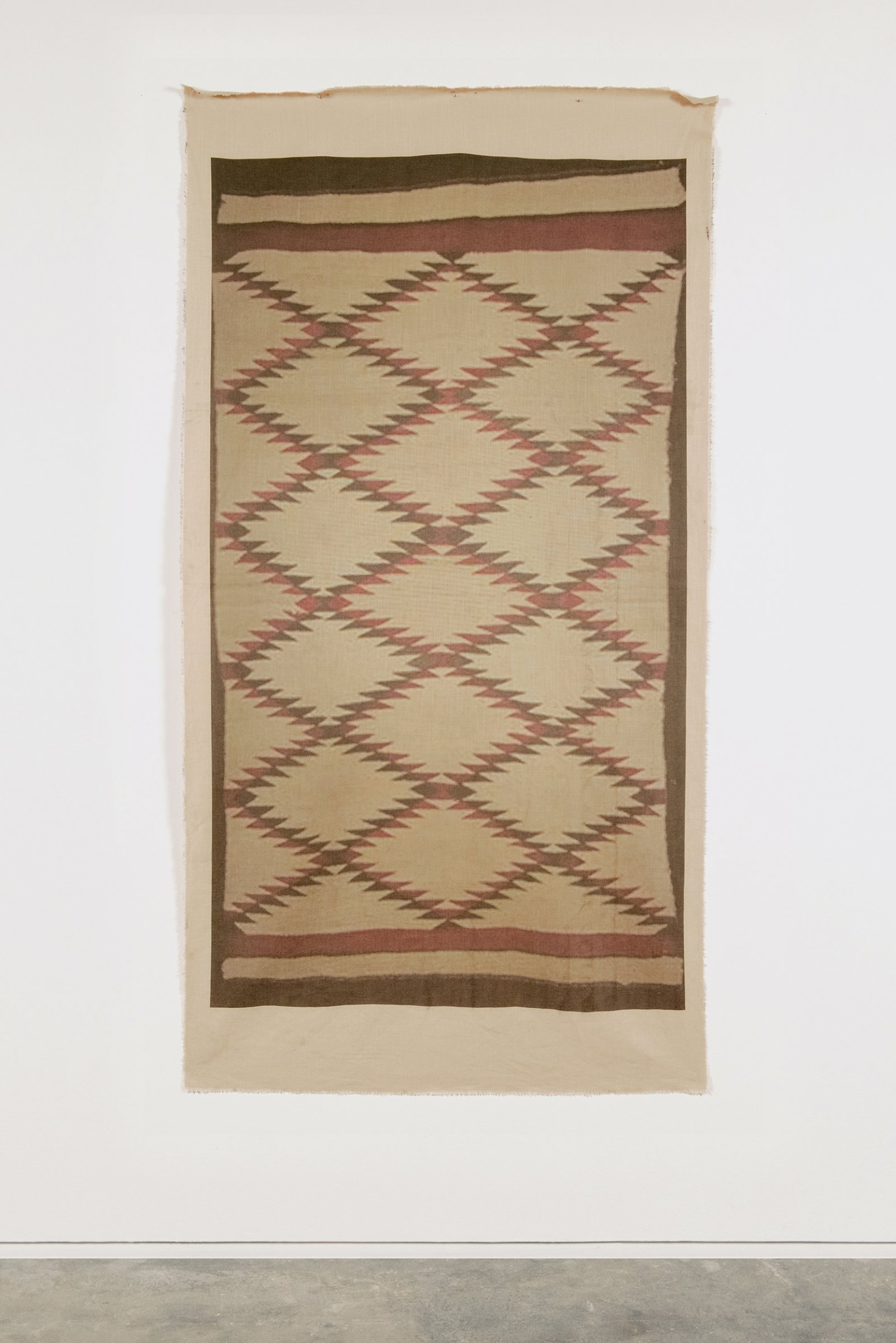 Duane Linklater,UMFA 1993.005.001, 2015, inkjet print on linen, nails, from Navajo Serape, Utah Museum of Fine Arts Collection, 85 x 44 in. (216 x 112 cm)