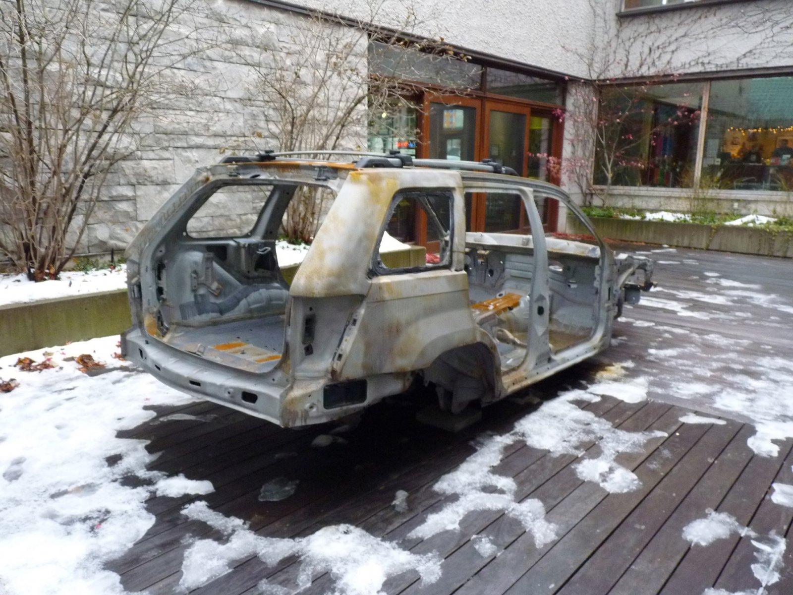 Duane Linklater, 2005 Grand Jeep Cherokee, 2013, steel frame of artist's vehicle. dimensions variable