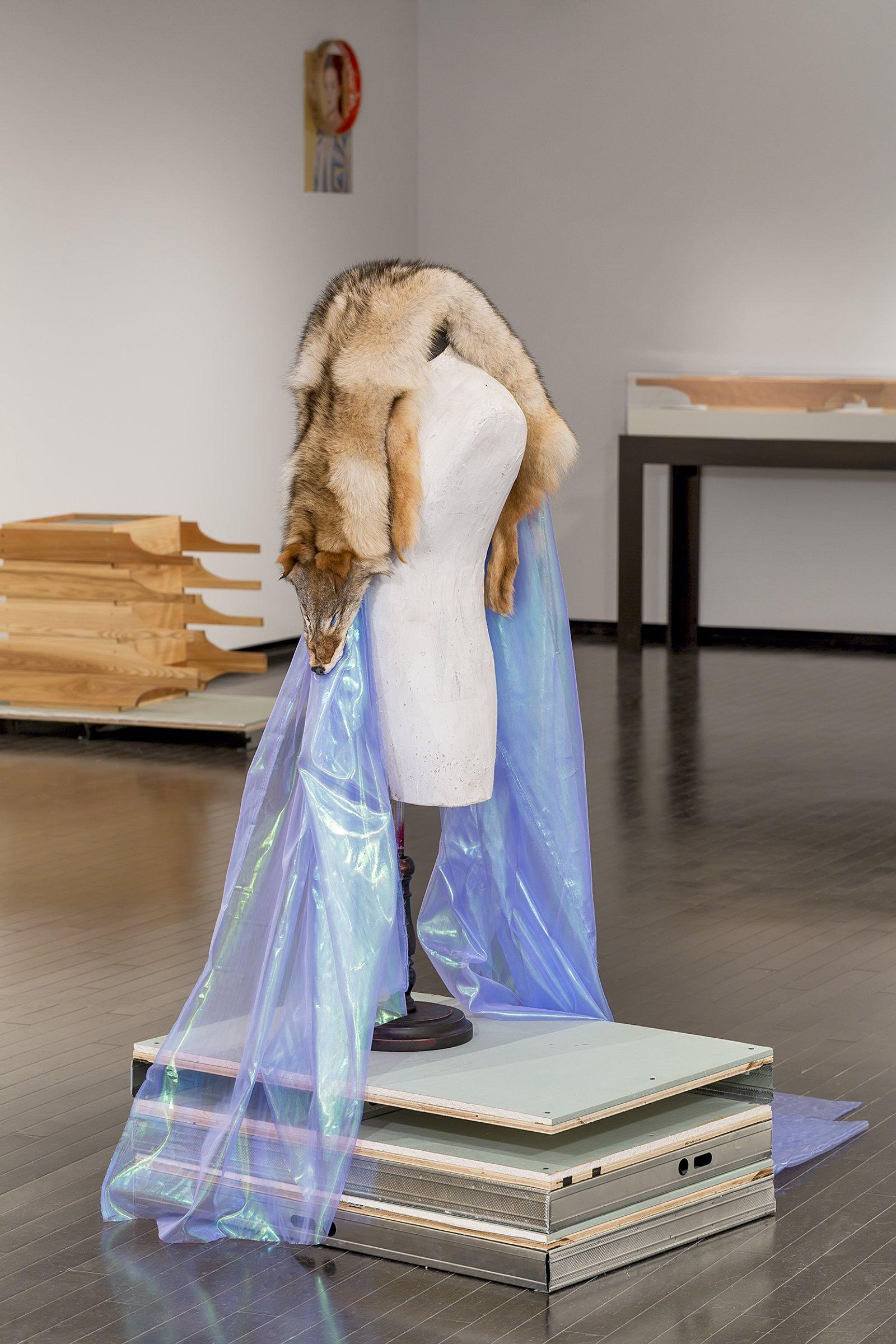 Duane Linklater, Beast of Burden, 2016, coyote fur, dress form, gypsum, steel, wood, dimensions variable