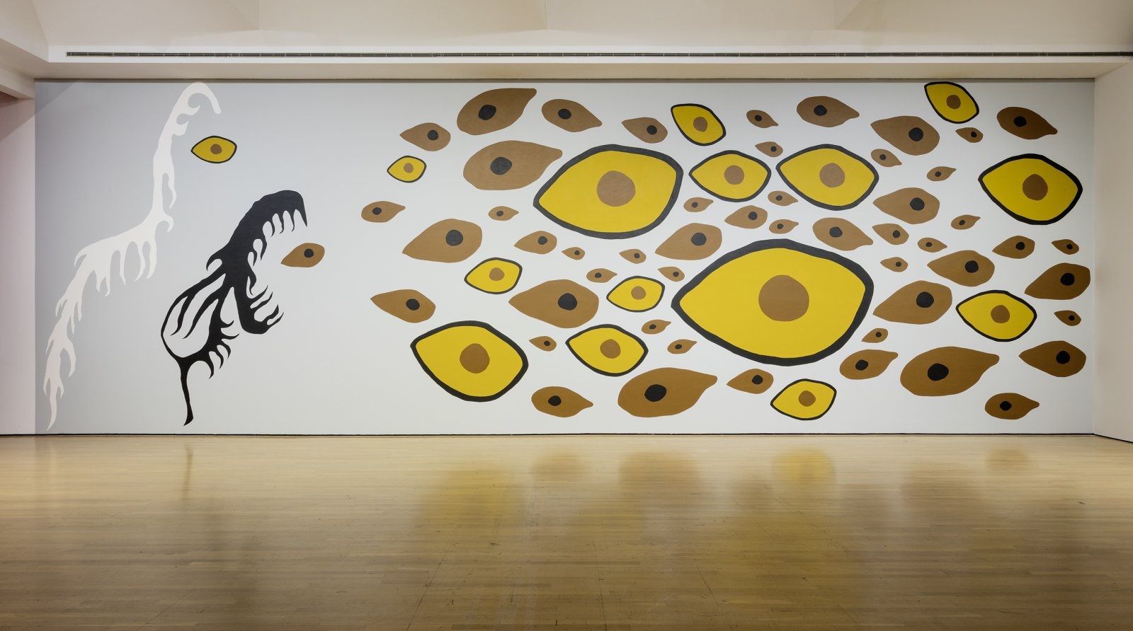 Duane Linklater, Earth Mother Hair, Indian Hair, and Earth Mother Eyes, Indian Eyes, Animal Eyes, 2017, paint on wall, dimensions variable