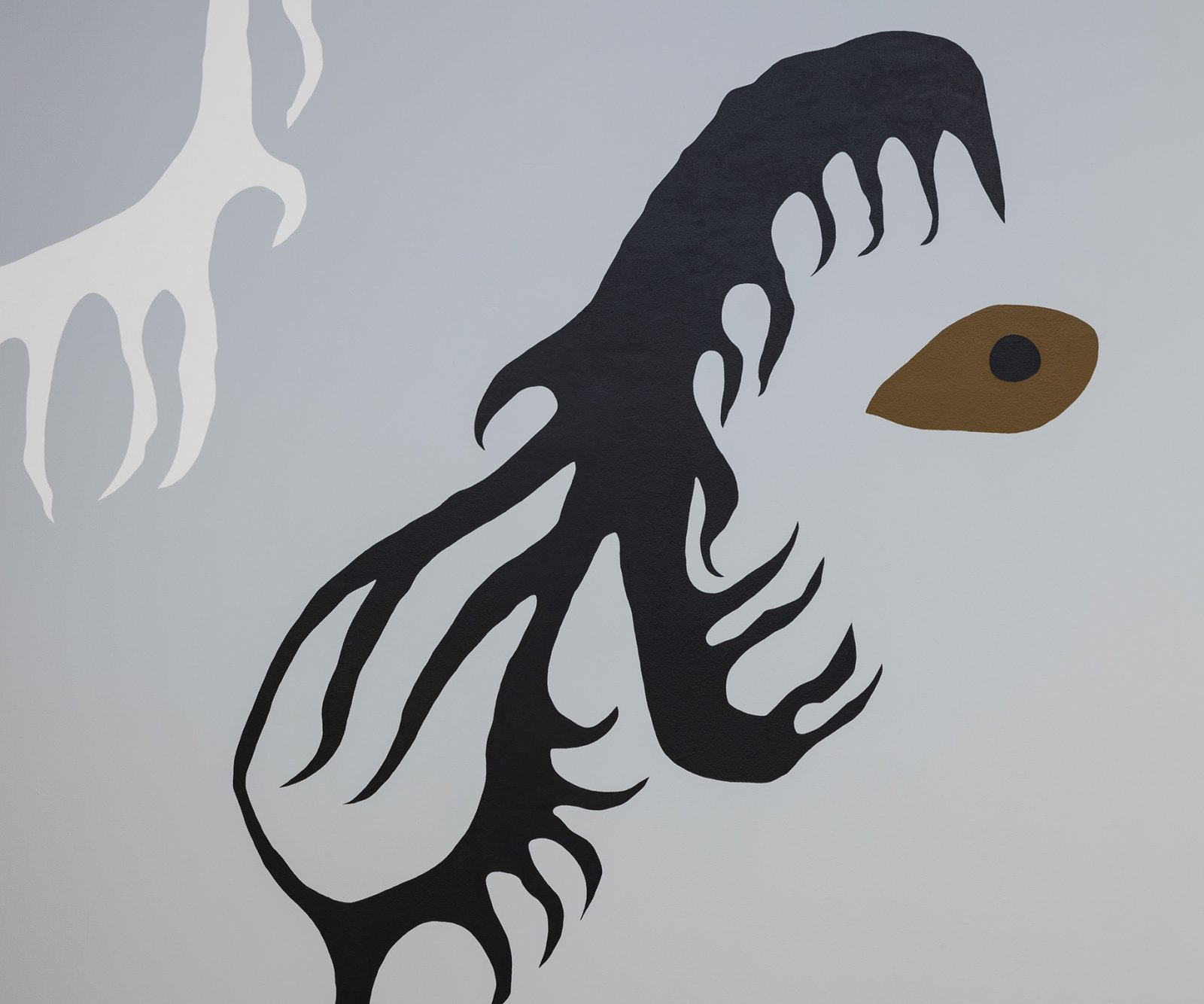 Duane Linklater, Earth Mother Hair, Indian Hair, and Earth Mother Eyes, Indian Eyes, Animal Eyes (detail), 2017, paint on interior wall of the Musée d'art contemporain de Montréal, from a series of small paintings of eyes and hair based on a photo of Norval Morrisseau's Earth Mother and Her Children (1967), painting labour by Julie Ouellet, absence of the artist, dimensions variable. Installation view, In Search of Expo 67, Musée d'art contemporain de Montréal, 2017