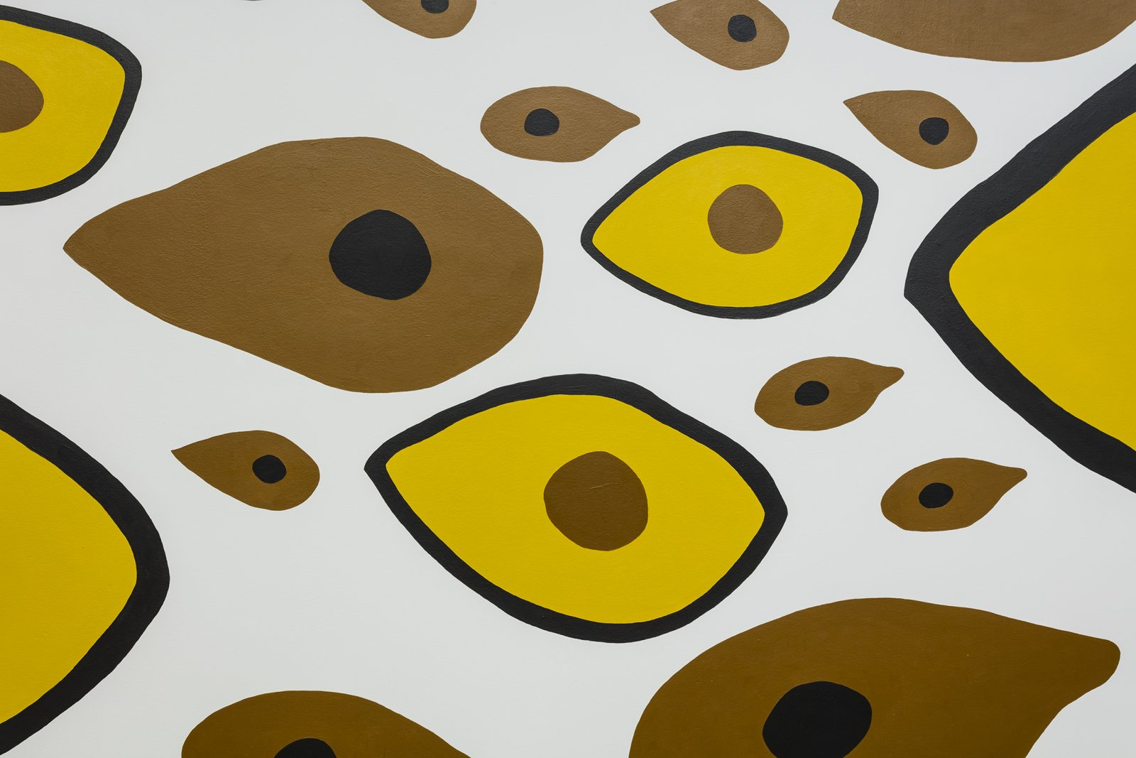 Duane Linklater,Earth Mother Hair, Indian Hair, and Earth Mother Eyes, Indian Eyes, Animal Eyes(detail),2017, paint on wall, dimensions variable