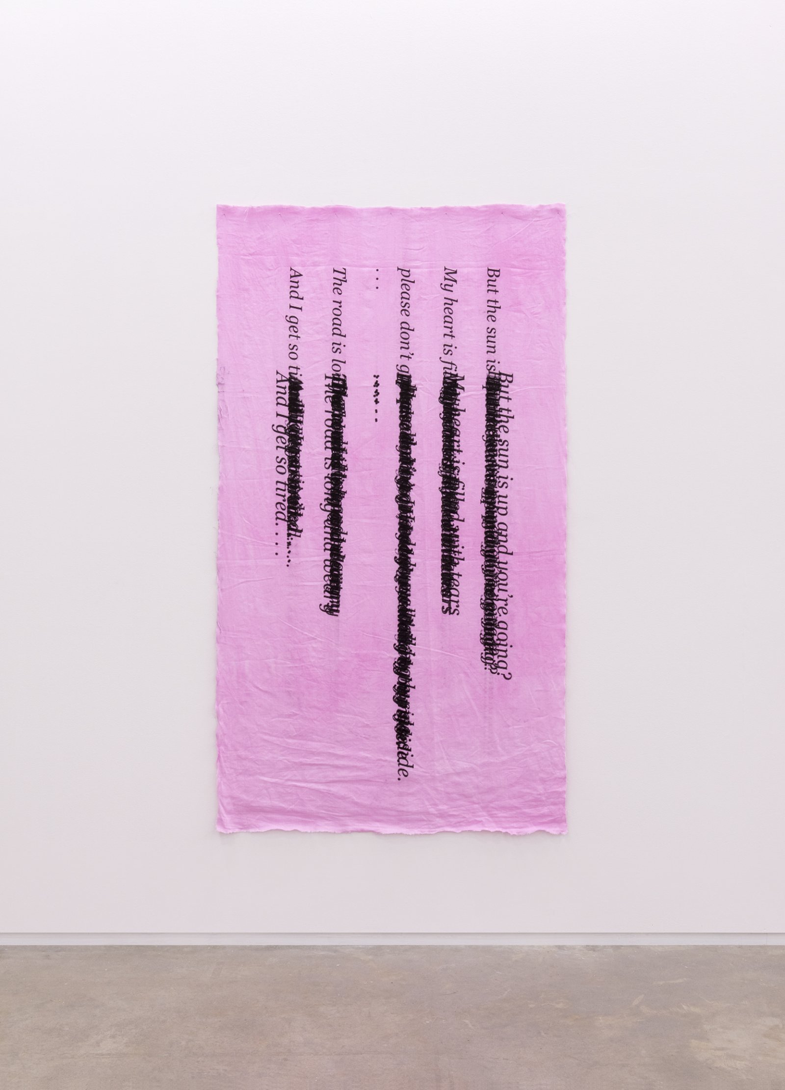 Duane Linklater, Ellipses, 2014, inkjet print on hand dyed linen, nails, 79 x 4 in. (200 x 110 cm) by Duane Linklater