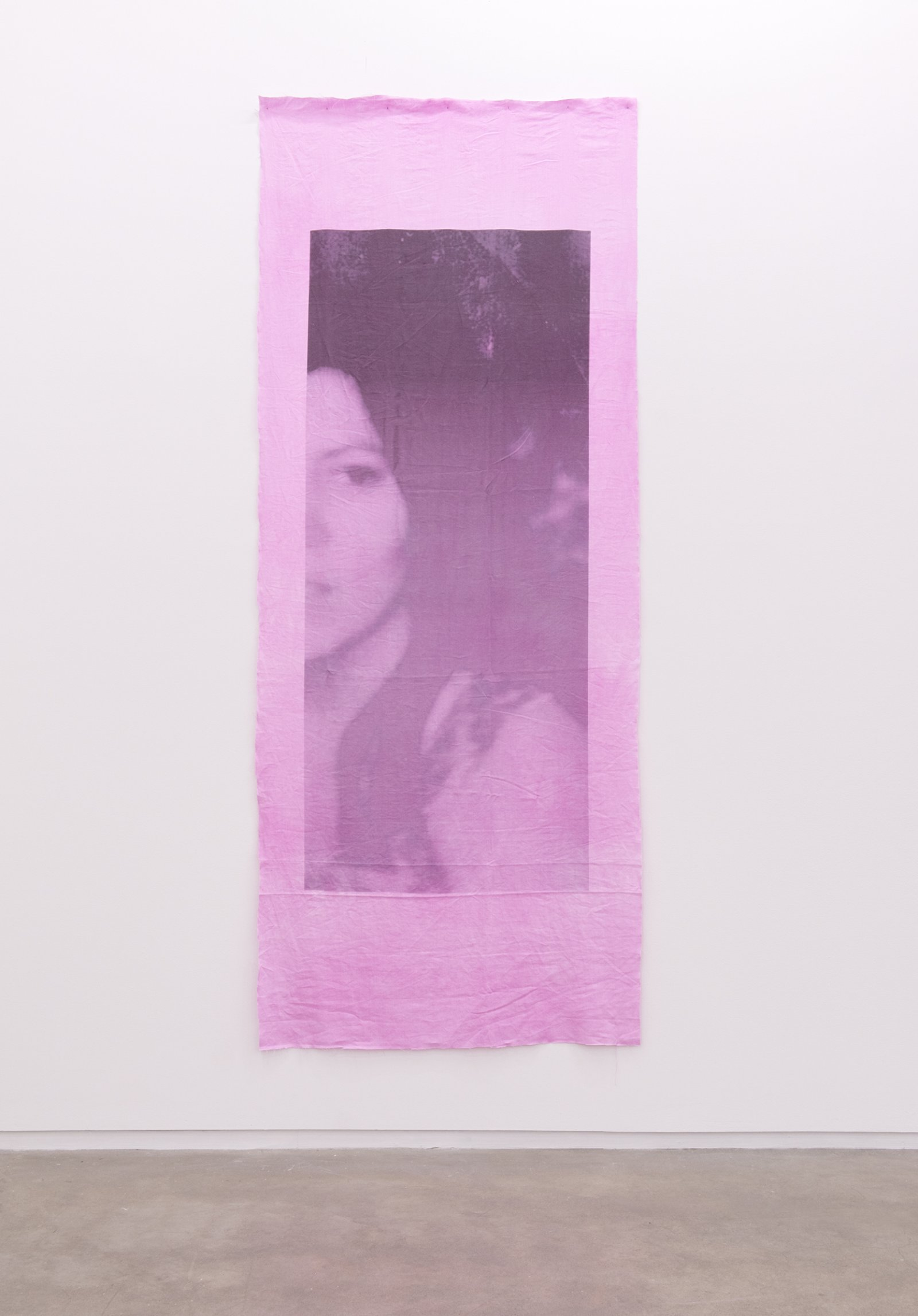 Duane Linklater, Family photograph (detail), 2014, 2 inkjet prints on hand dyed linen, nails, 110 x 44 in. (278 x 110 cm), left: 101 x 43 inches (255 x 109 cm), right: 110 x 44 (278 x 112 cm)