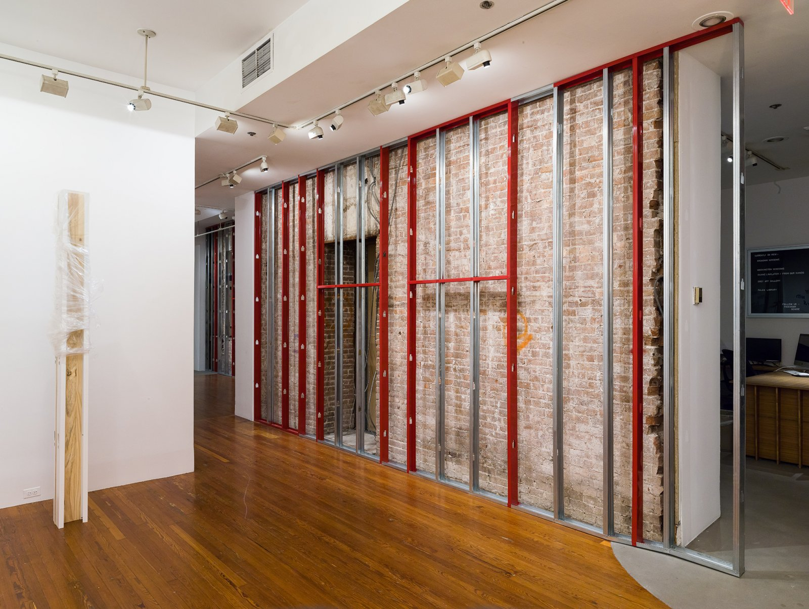 Duane Linklater, What Then Remainz, 2016, disassembled walls, powder coated steel, steel screws, dimensions variable. Installation view, From Our Hands, 80WSE Gallery, New York, 2016 by Duane Linklater