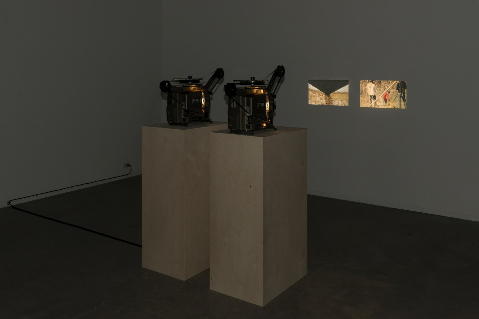 Brian Jungen and Duane Linklater, Lean, 2012, two super 16 mm film loops on projectors, 10 minutes