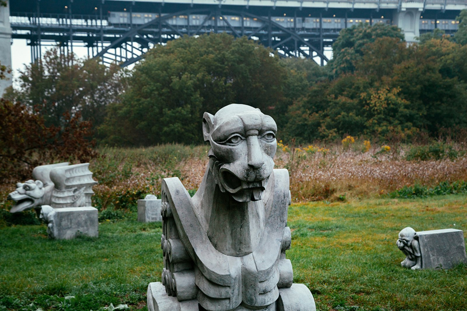 Duane Linklater, Monsters for Beauty, Permanence and Individuality, 2017, 14 cast concrete sculptures, dimensions variable. Installation view, Lower Don River Trail, Don River Valley Park, Toronto, 2017