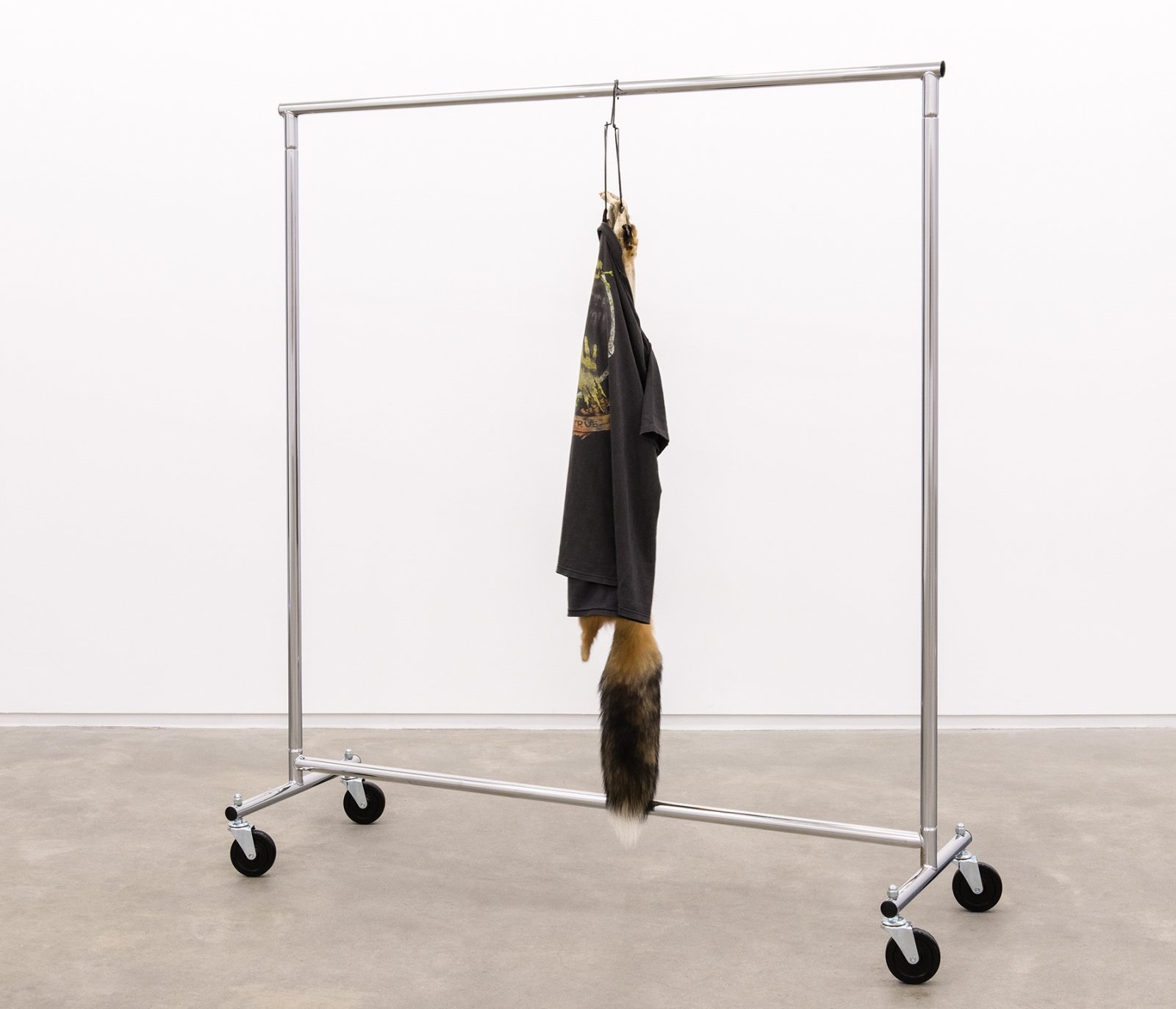 Duane Linklater, My brother in law, my sister, 2014, fox fur, garment rack, hangers, t-shirt, 66 x 60 x 20 in. (168 x 151 x 52 cm) by Duane Linklater