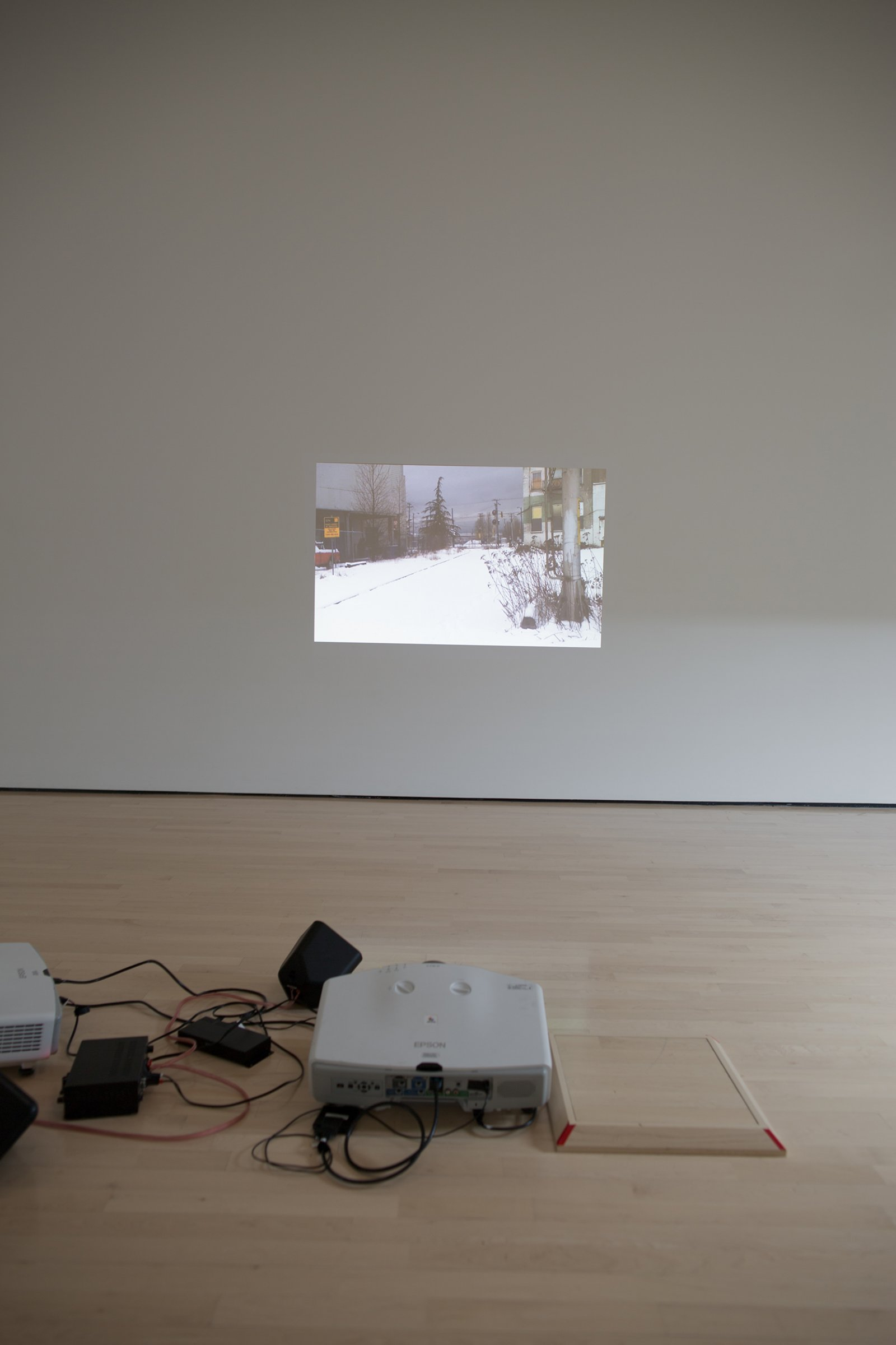 Duane Linkater, Something about encounter, 2011–2013, video projection, 8 minutes, 41 seconds. Installation view, Field Station: Duane Linklater, MSU Broad, East Lansing, MI, 2017 by Duane Linklater