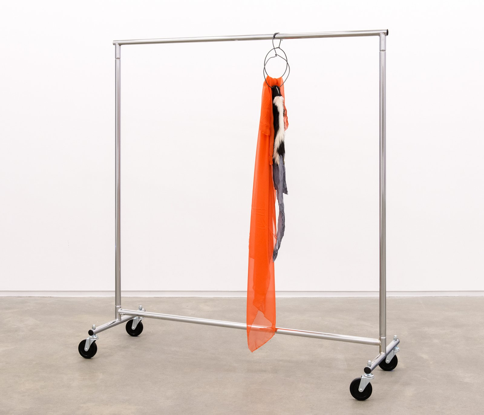 Duane Linklater, The most beautiful thing in the world, 2014, skunk fur, paint, garment rack, hangers, fabric, 66 x 60 x 20 in. (168 x 151 x 52 cm) by Duane Linklater
