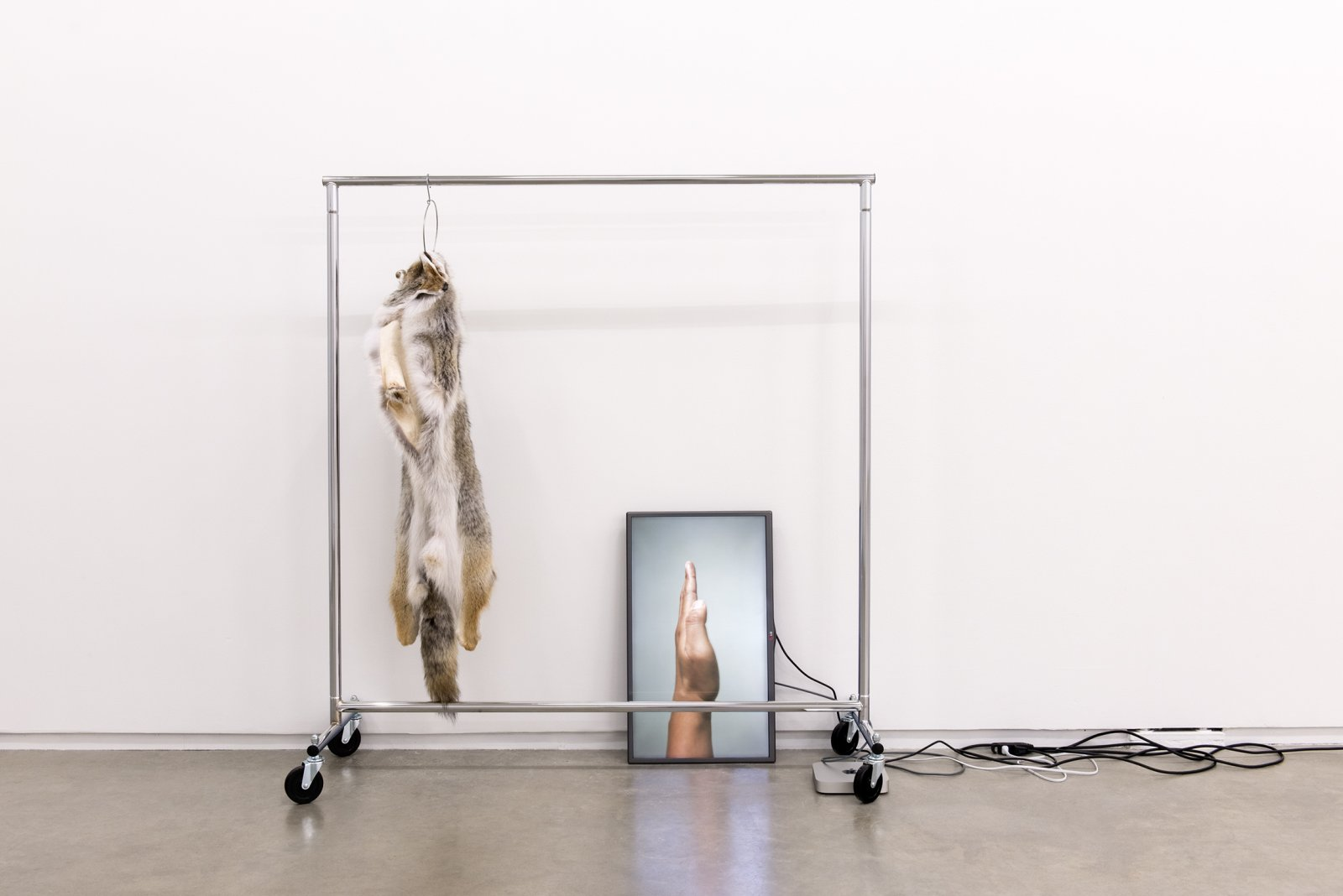 Duane Linklater, The place I seek to go, 2014, coyote fur, garment rack, hanger, flat screen TV, mac mini, HD video loop, cables, 132 x 66 x 20 in. (335 x 168 x 52 cm)