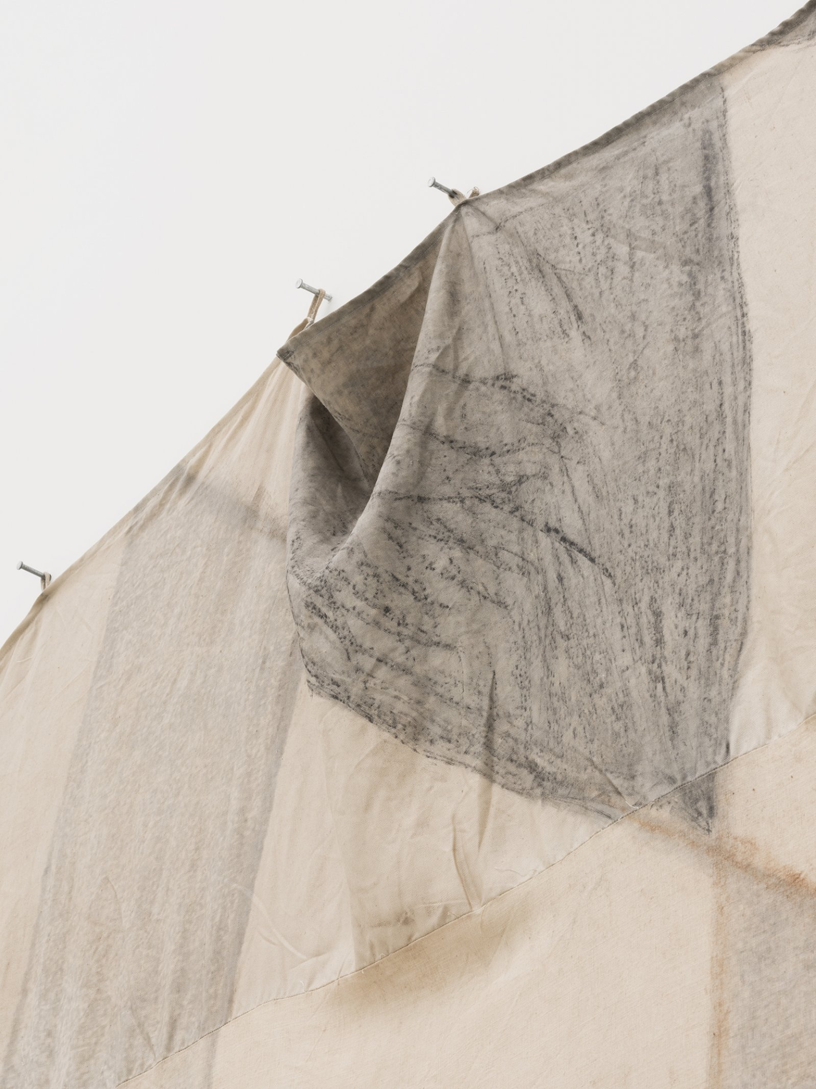 Duane Linklater, Tipi cover for unknown future horizon / Indian lemonade diamond for Mina (detail), 2018, digital print on hand-dyed linen, cedar, sumac, charcoal, nails, 113 x 213 in. (287 x 541 cm)