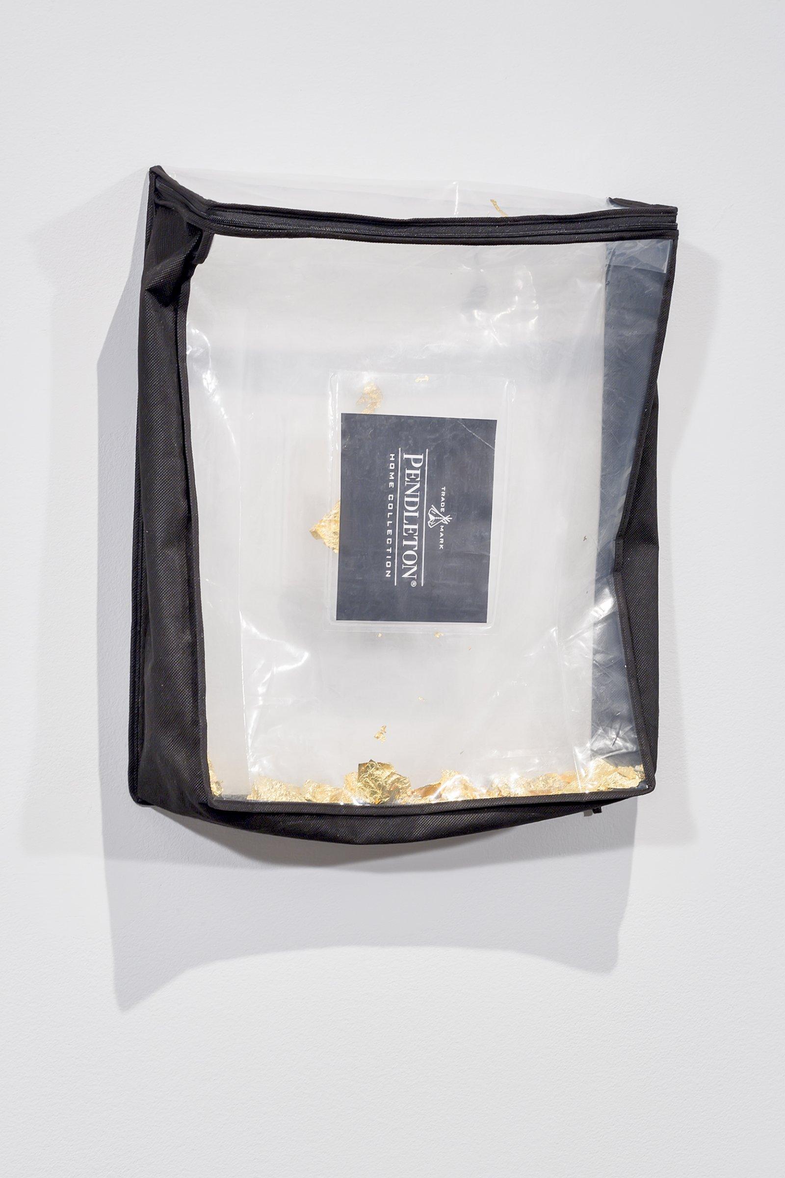 Duane Linklater,Trademark, 2016, gold leaf, plastic bag, dimensions variable