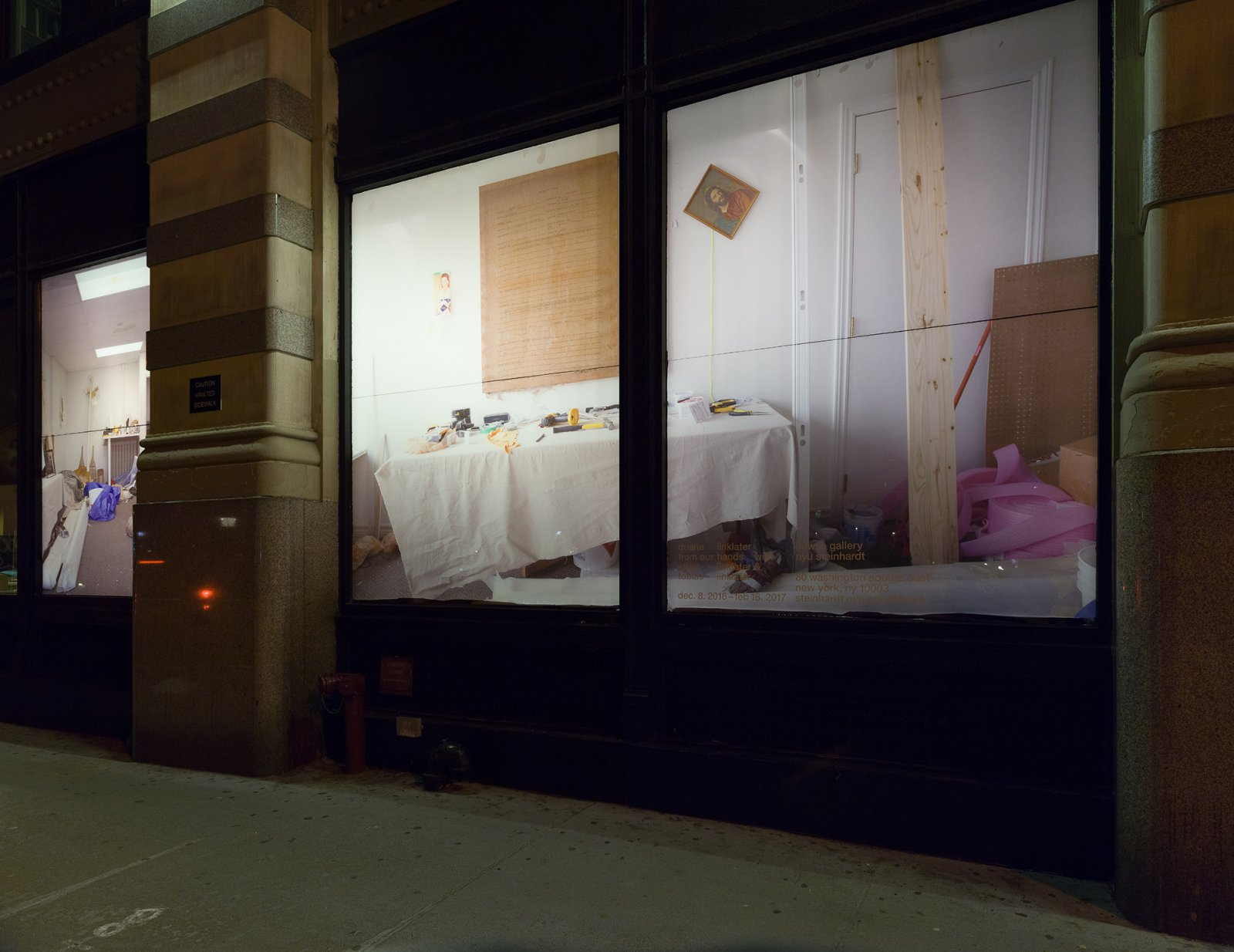Duane Linklater, Untitled Studio View (Main Street, North Bay), 2016, digital print on vinyl, dimensions variable. Installation view, From Our Hands, Washington Square Windows, 80WSE Gallery, New York, 2016 by Duane Linklater