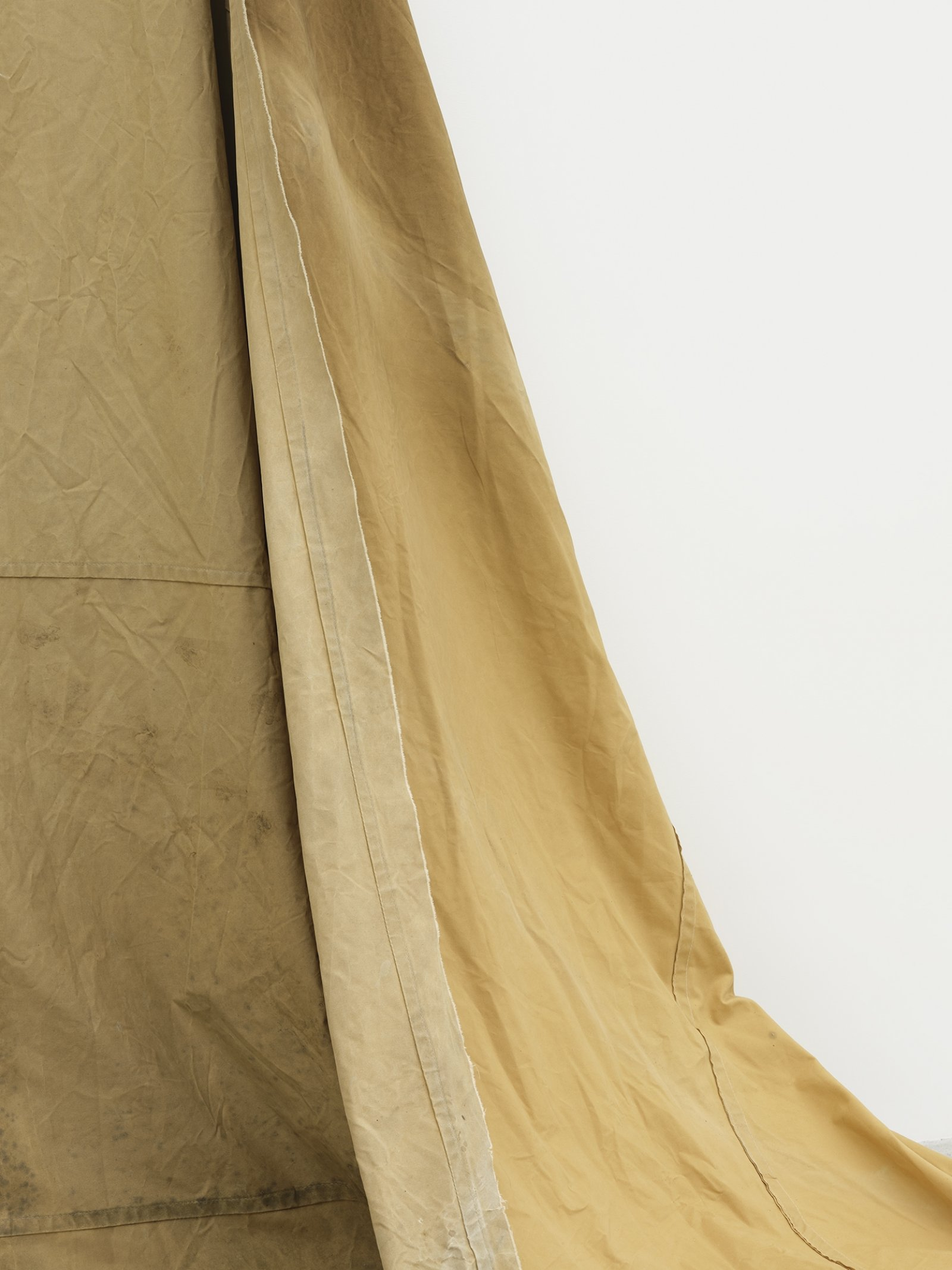 Duane Linklater, a gift from Doreen (detail), 2016–2019, hand-dyed canvas, teepee canvas, blueberry extract, grommets, nails, 108 x 270 x 123 in. (274 x 686 x 312 cm)