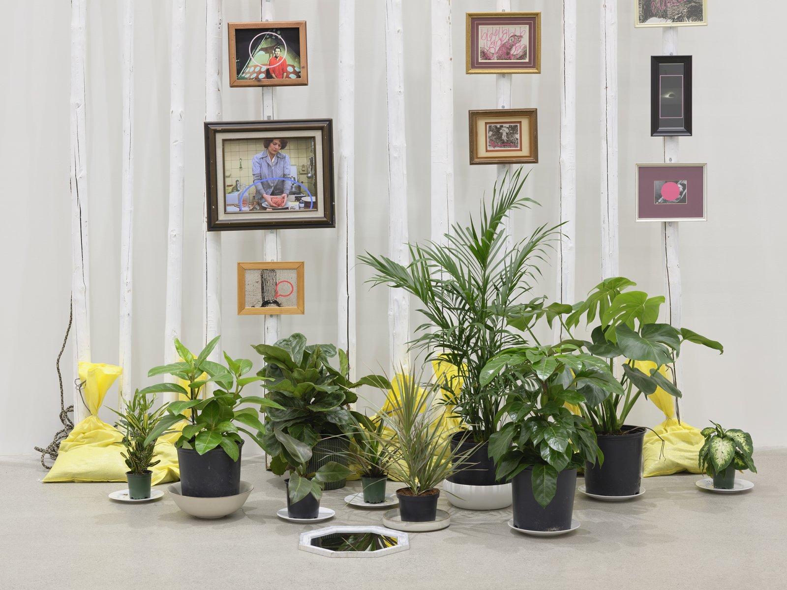 Duane Linklater, action at a distance (detail), 2020, teepee poles, paint, nylon rope, plants, plates, ceramics, sandbags, frames, 12 digital prints, mirror, 233 x 102 x 66 in. (592 x 259 x 168 cm)