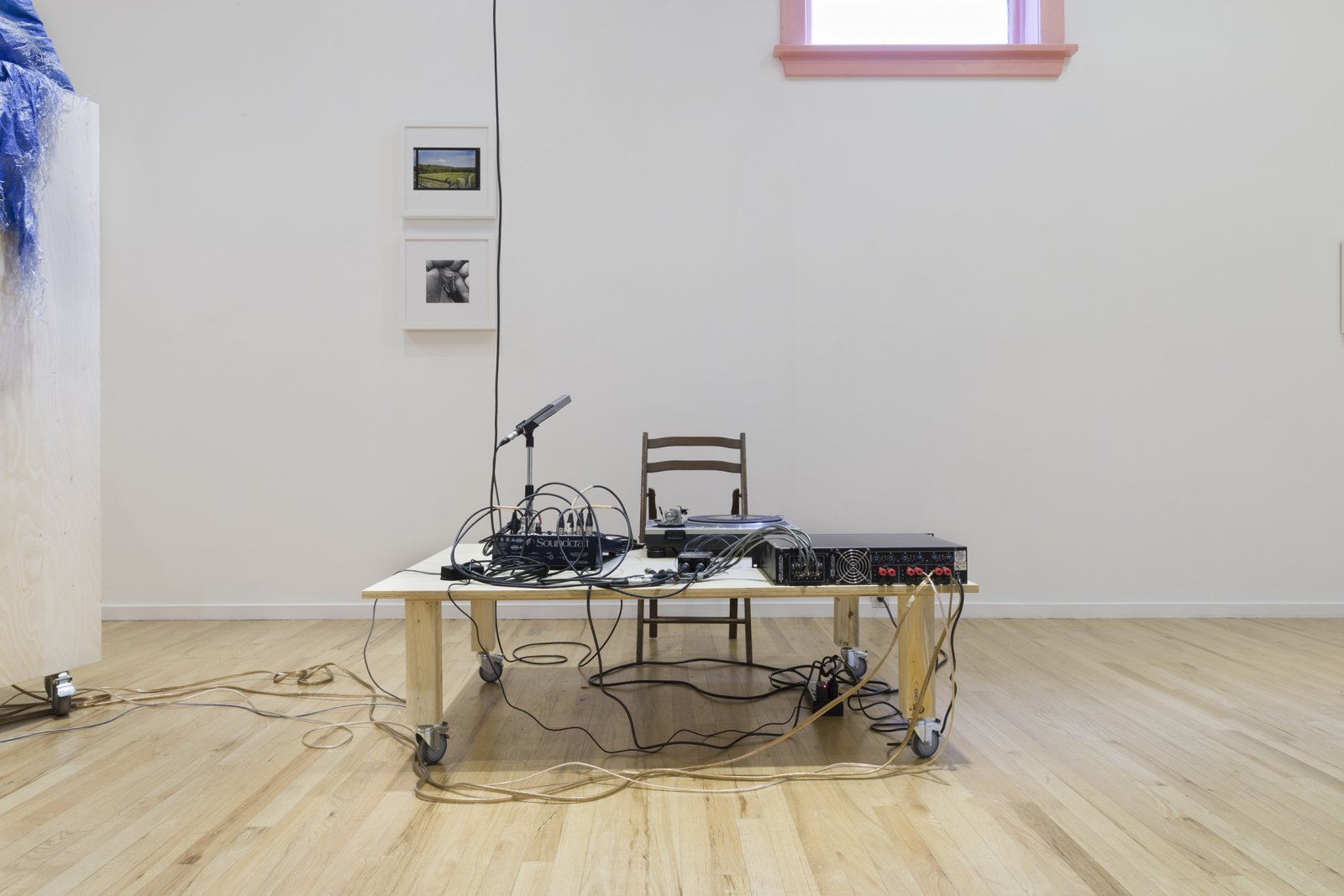 Duane Linklater,apparatus for the dissemination of Indigenous ideas and sounds into the air, 2017,tripod, radio transmitter, hand dyed snowshoes, tarpulin, fabric, string, stone, tape, speaker, paint, wiring, dimensions variable. Installation view,apparatus for the circulation of Indigenous ideas and sounds into the air, Western Front, Vancouver, 2017