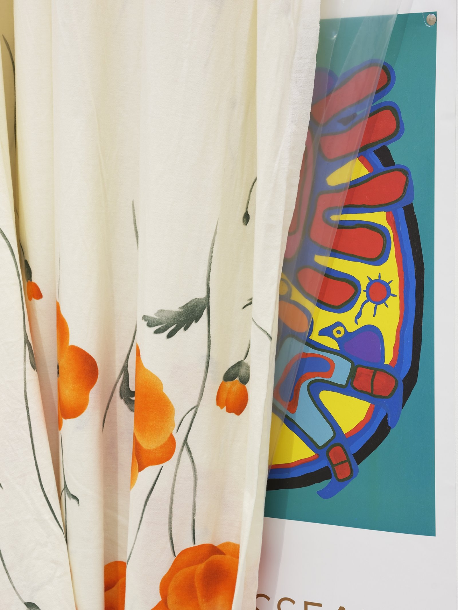 Duane Linklater, body (detail), 2016, plastic sheeting, cotton cloth, nails, thumb tacks, paper poster from National Gallery of Canada, 124 x 35 x 15 in. (315 x 89 x 38 cm)