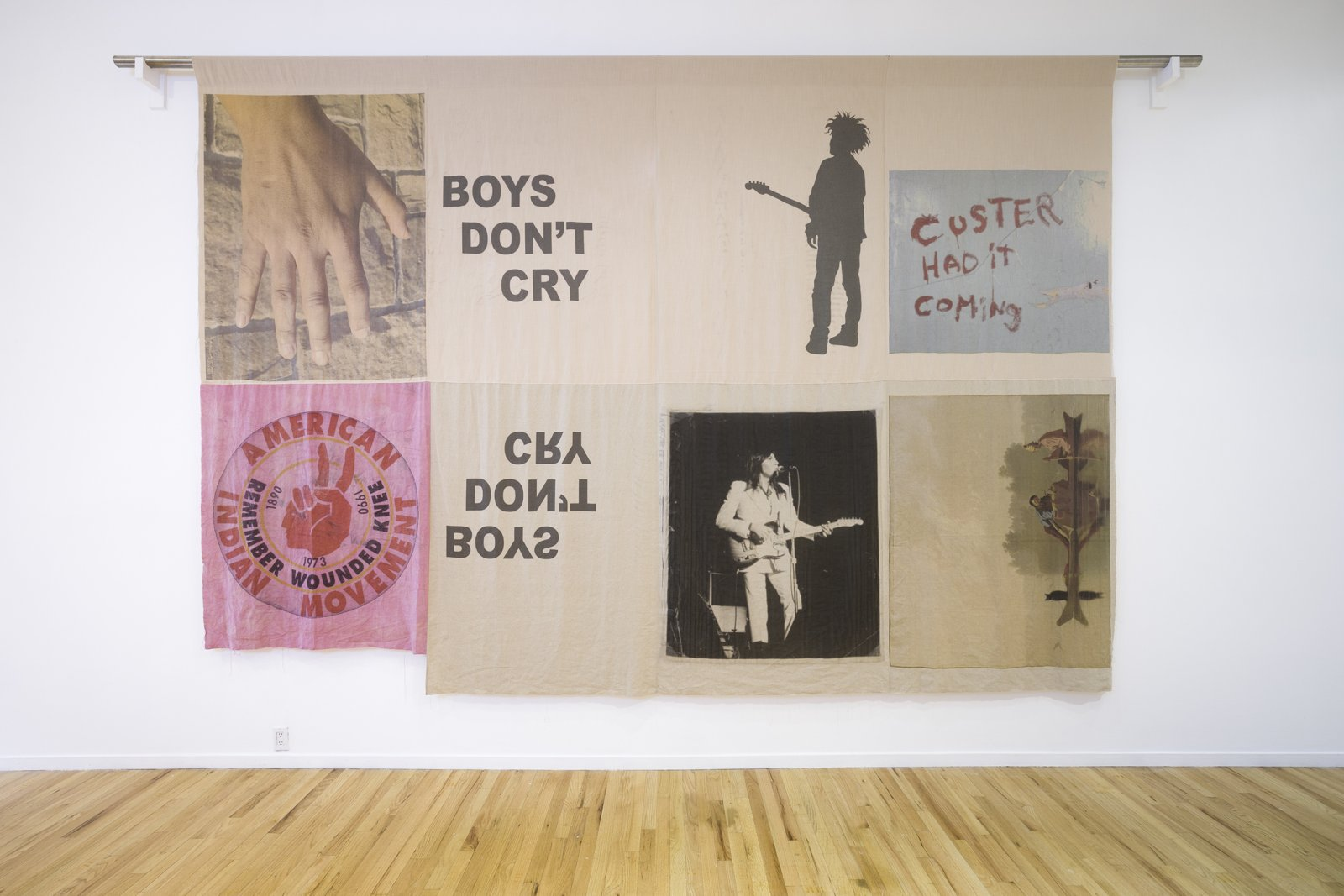 Duane Linklater, boys don't cry, 2017, digital print on hand dyed linen, 180 x 120 in. (457 x 305 cm)