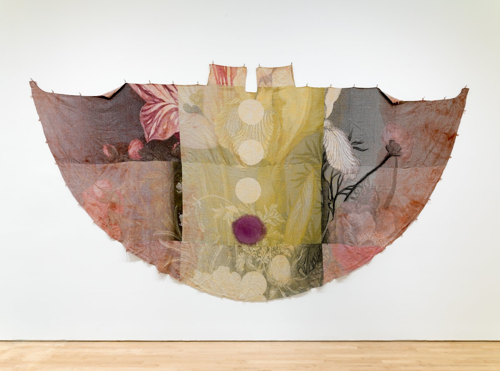 Duane Linklater, can the circle be unbroken 2, 2019, digital print on linen, iron red dye, cypress yellow ochre, blueberry extract, charcoal, nails, 120 x 240 in. (305 x 610 cm). Installation view, SOFT POWER, SF MOMA, San Francisco, USA, 2019