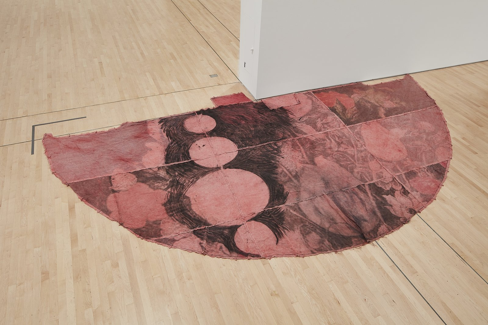 Duane Linklater, can the circle be unbroken 4, 2019, digital print on linen, cup and saucer red dye, indigo dye, charcoal, 120 x 240 in. (305 x 610 cm). Installation view, SOFT POWER, SF MOMA, San Francisco, USA, 2019 by Duane Linklater
