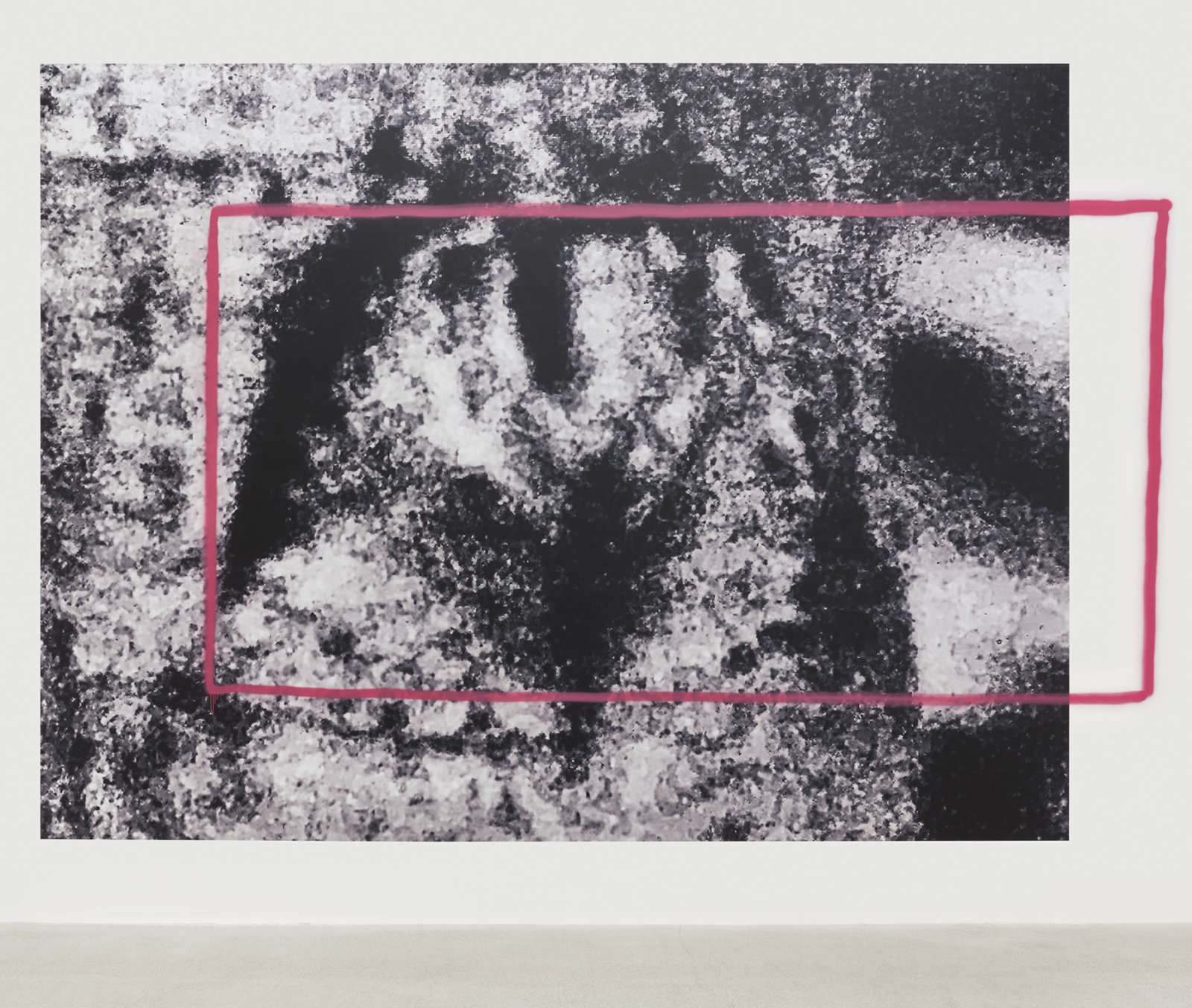 Duane Linklater, latealex, 2020, vinyl, spray paint, 182 x 261 in. (462 x 663 cm)