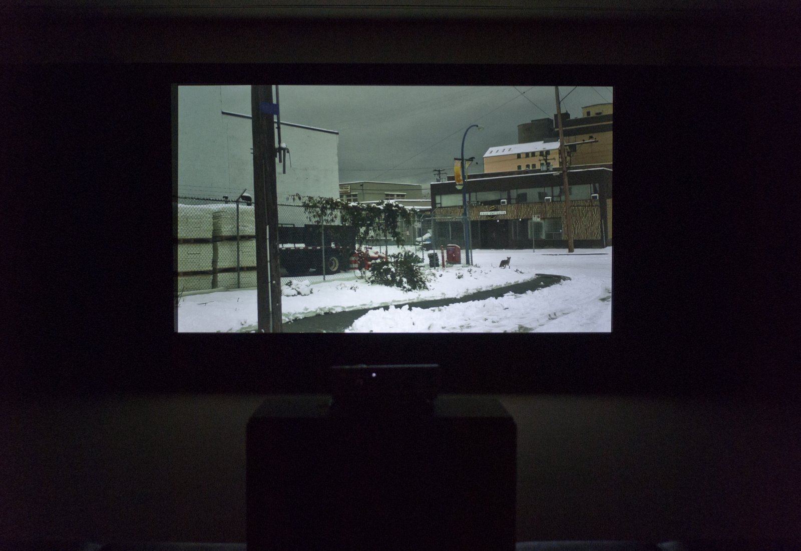 Duane Linklater, Something About Encounter, 2011-2013, HD iphone video with sound, dimensions variable. Installation view, Thunder Bay Art Gallery, Thunder Bay, 2013.