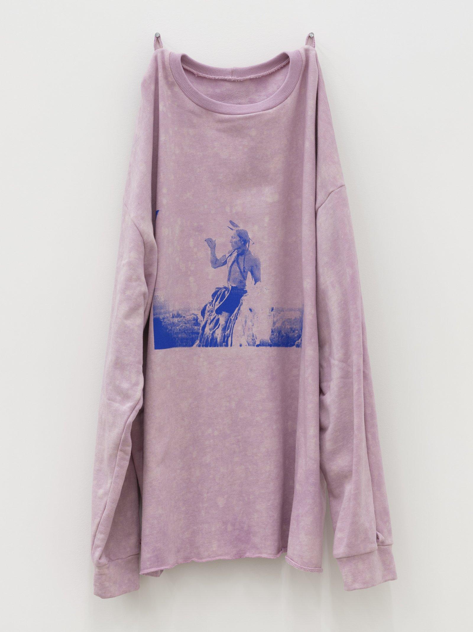 Duane Linklater, whiteeagle, 2020, handmade sweater, cochineal dye, silkscreen, nails, 38 x 20 x 5 in. (97 x 51 x 13 cm)