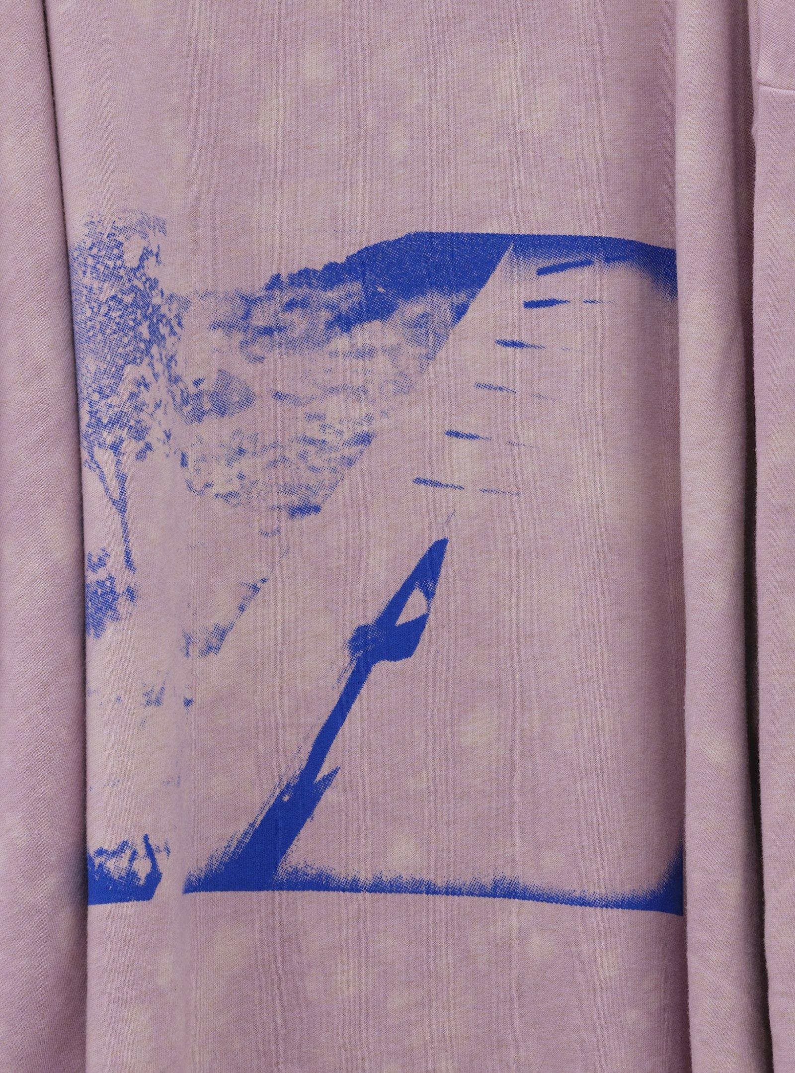 Duane Linklater, whiteeagle (detail), 2020, handmade sweater, cochineal dye, silkscreen, nails, 38 x 20 x 5 in. (97 x 51 x 13 cm)