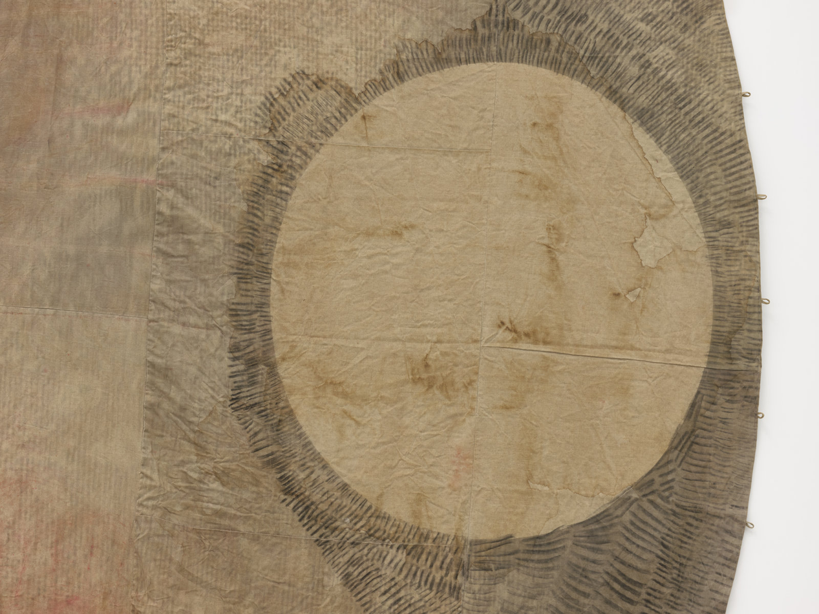 Duane Linklater, winter in america_no door_âkamenimok (detail), 2020, digital print on hand dyed linen, black tea and sumac dye, charcoal, cup and saucer ochre, iron red pigment, dandelion, nails, 218 x 312 x 6 in. (554 x 793 x 15 cm)