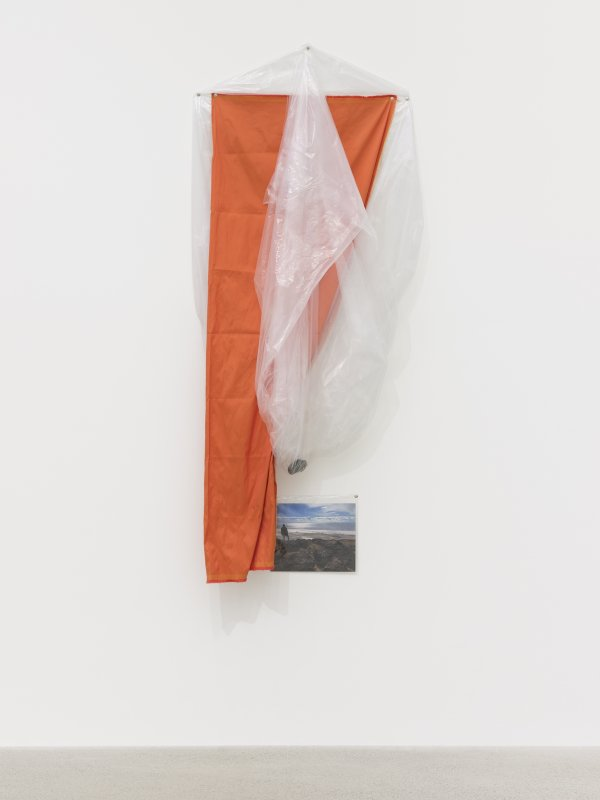 Duane Linklater, coup, 2016, plastic sheeting, polyester cloth, stone from Spiral Jetty, thumbtacks, colour photograph, 67 x 43 x 8 in. (170 x 109 x 20 cm)