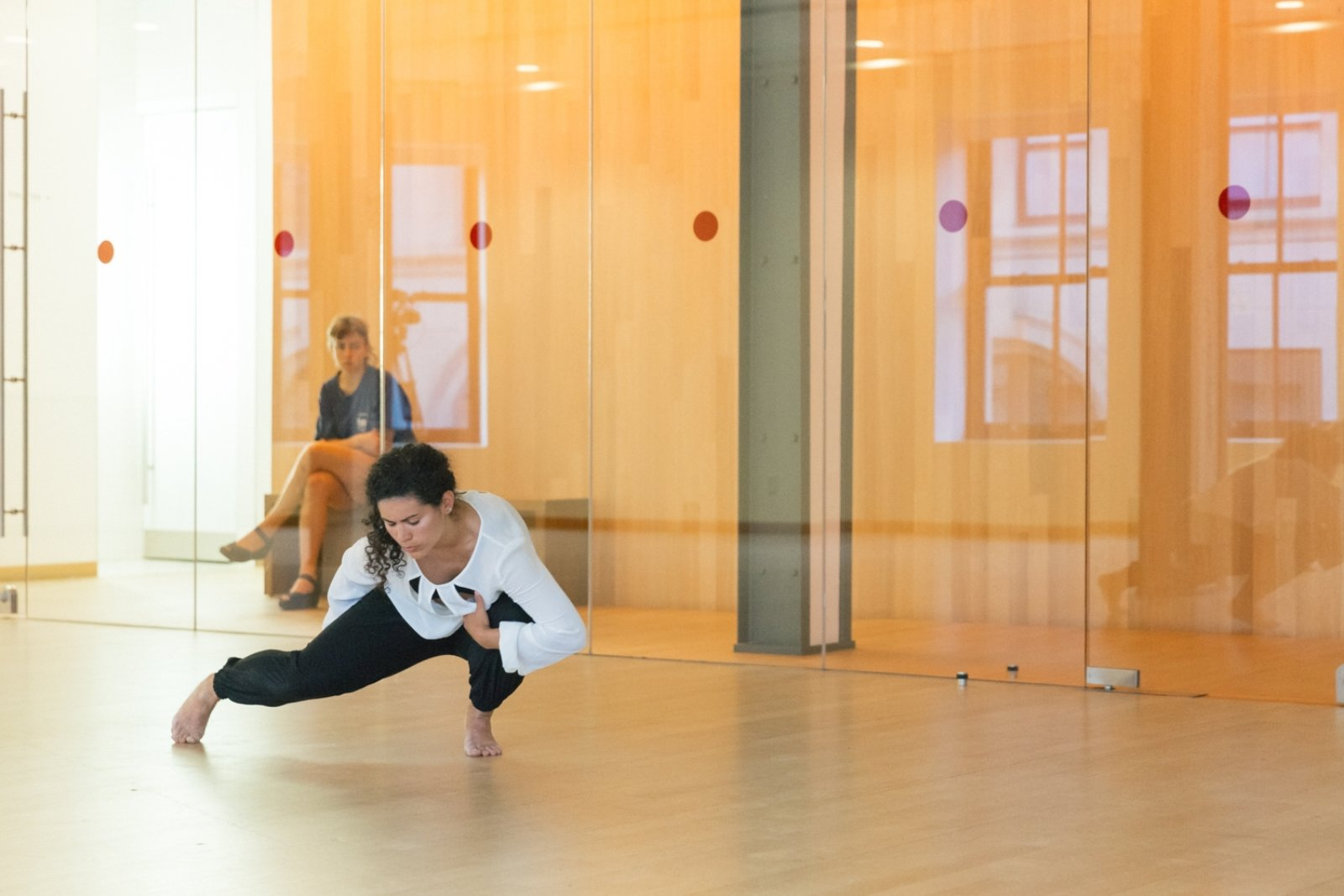 Tanya Lukin Linklater, A glossary of insistence, 2016, text performance with 2 dancers and video, dimensions variable. Performance documentation, From Away, Centre Phi, DHC/Art, Montreal, Canada, 2016