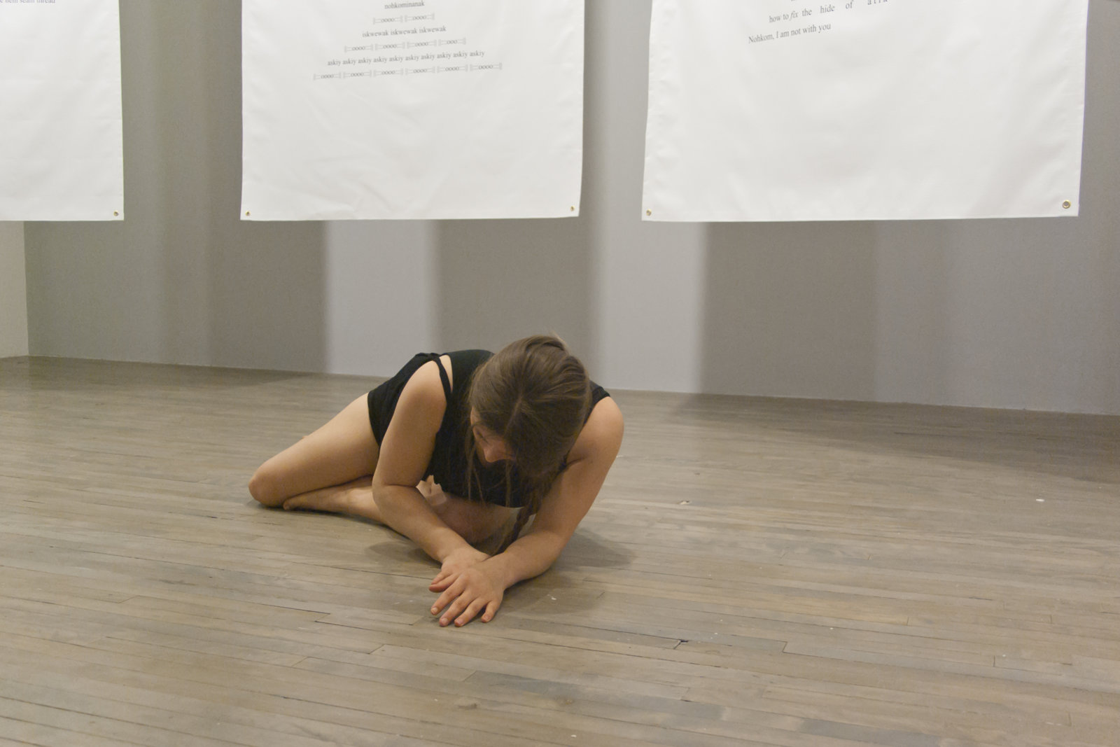 Tanya Lukin Linklater, Slow Scrape and the Harvest Sturdies, 2013–2017, 5 banners, canvas, grommets, sinew, site-specific performance. Performance documentation, A Problem So Big It Needs Other People, SBC Galleries, Montreal, Canada, 2014