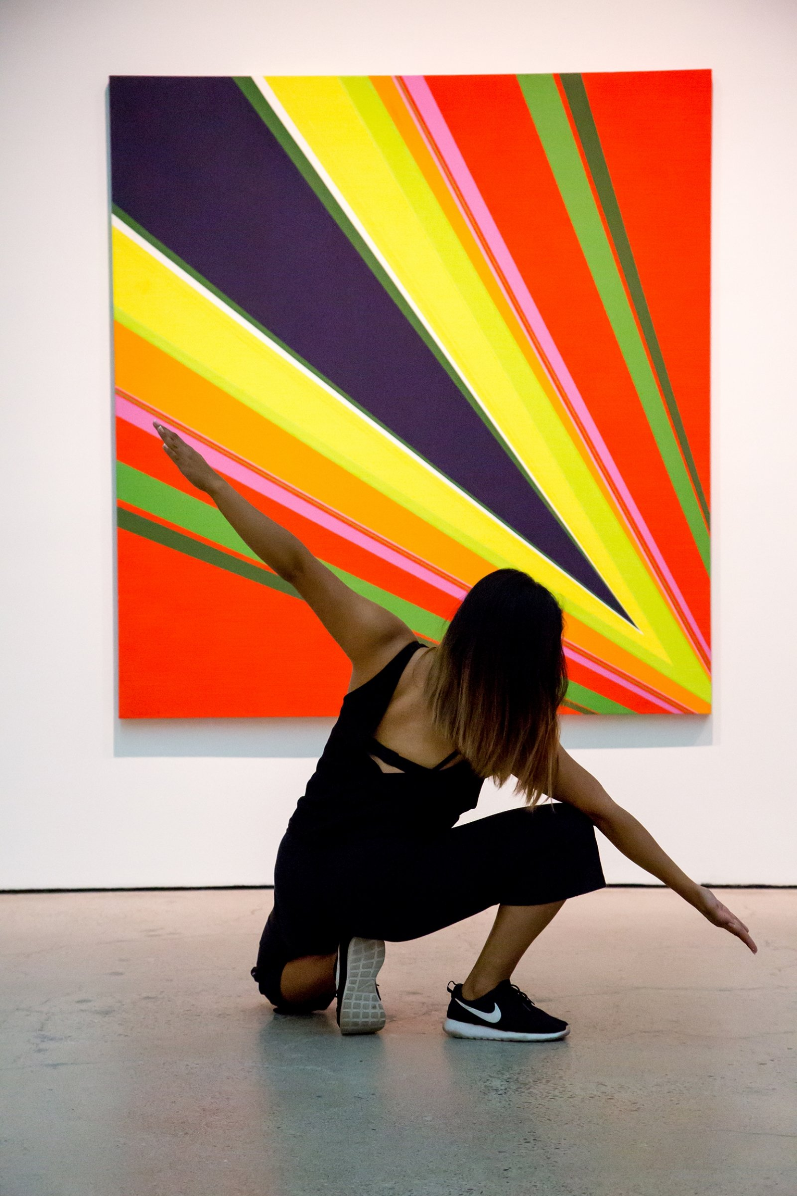 Tanya Lukin Linklater, Sun Force, 2017, site-specific performance with dancers Ceinwen Gobert and Danah Rosales in response to Fire and Light, an exhibition of Rita Letendre's paintings at the Art Gallery of Ontario, Toronto, Canada, 2017