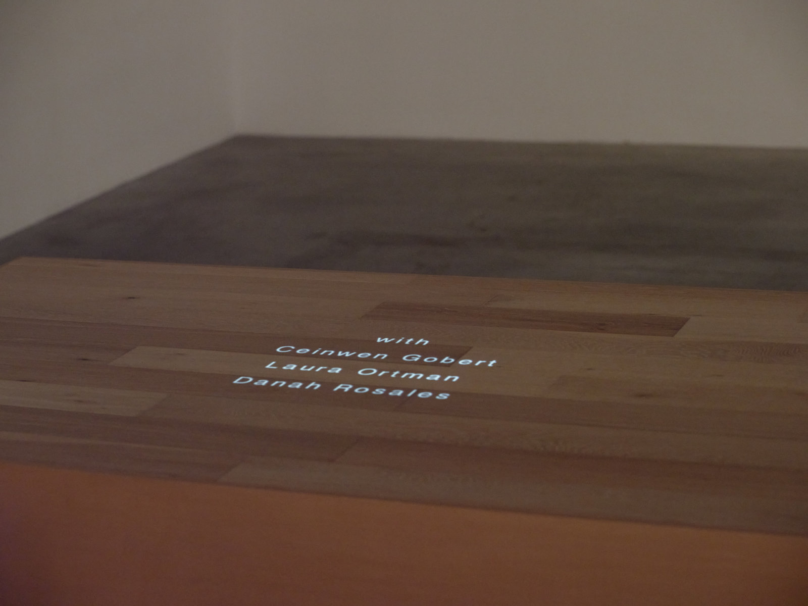 Tanya Lukin Linklater, We wear one another (detail), 2019⁠, site-specific performance projected on wood plinth, 48 x 24 x 85 in. (122 x 61 x 216 cm), 25 minutes, 18 seconds. Installation view, Soundings, Morris and Helen Belkin Art Gallery, Vancouver, 2020