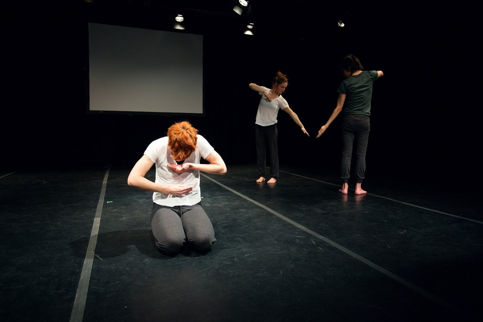 Tanya Lukin Linklater, the the, 2014–2016, site-specific performance with 3 dancers. Performance documentation, Turn Out, Remai Modern, Saskatoon, Canada, 2016